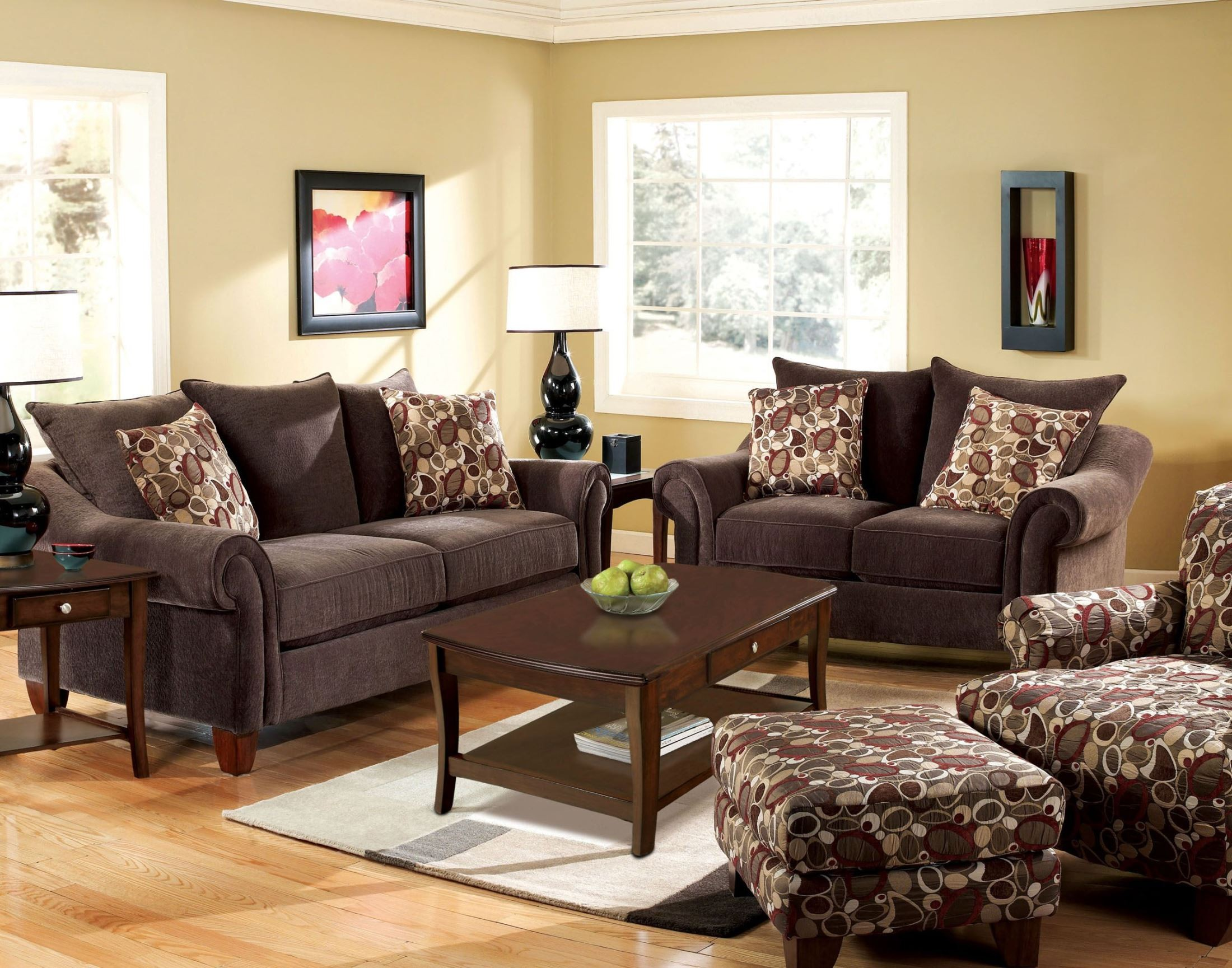 Dark brown living room set modern house for Dark brown living room set