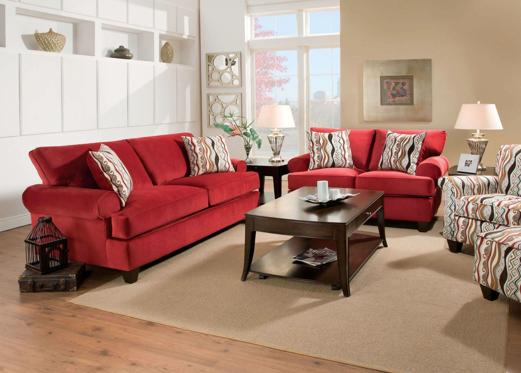 Inverness red corded fabric living room set from furniture for Red living room furniture