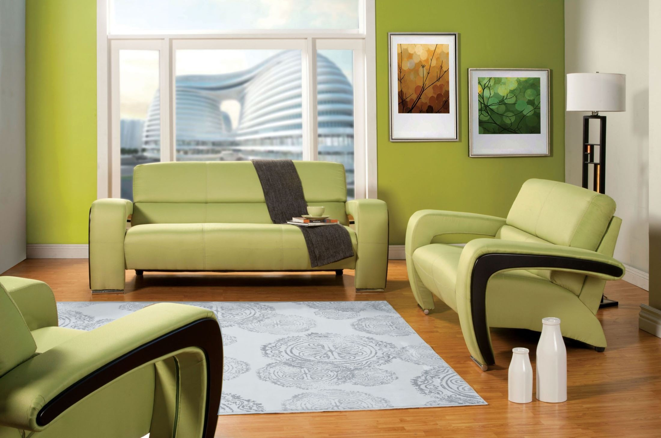 enez green fabric living room set from furniture of
