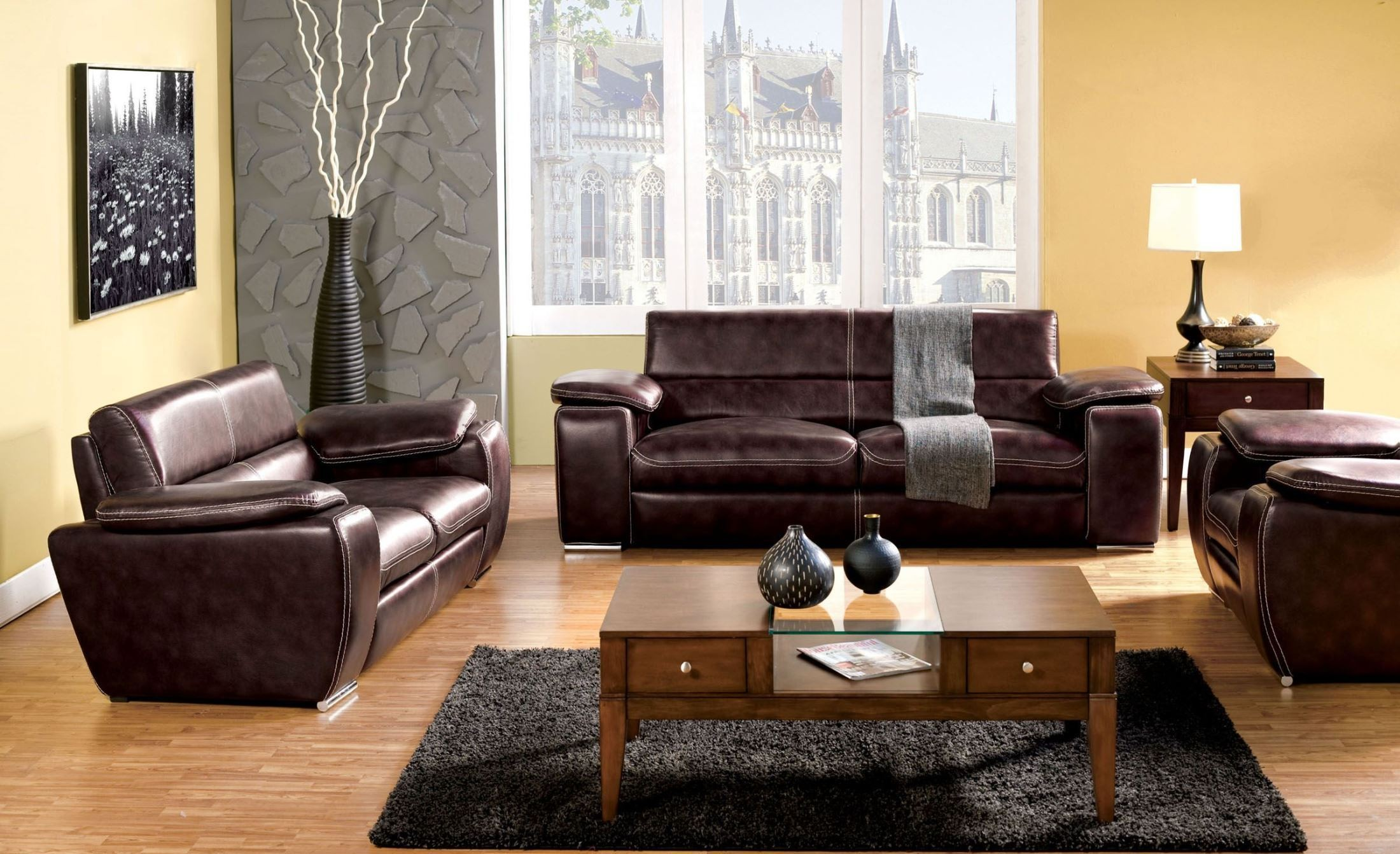 dinar brown bonded leather living room set from furniture of america sm6021 sf coleman furniture. Black Bedroom Furniture Sets. Home Design Ideas