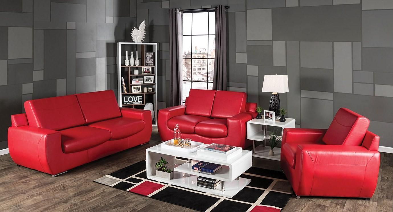 Tekir Red Living Room Set Sm6033 Sf Furniture Of America