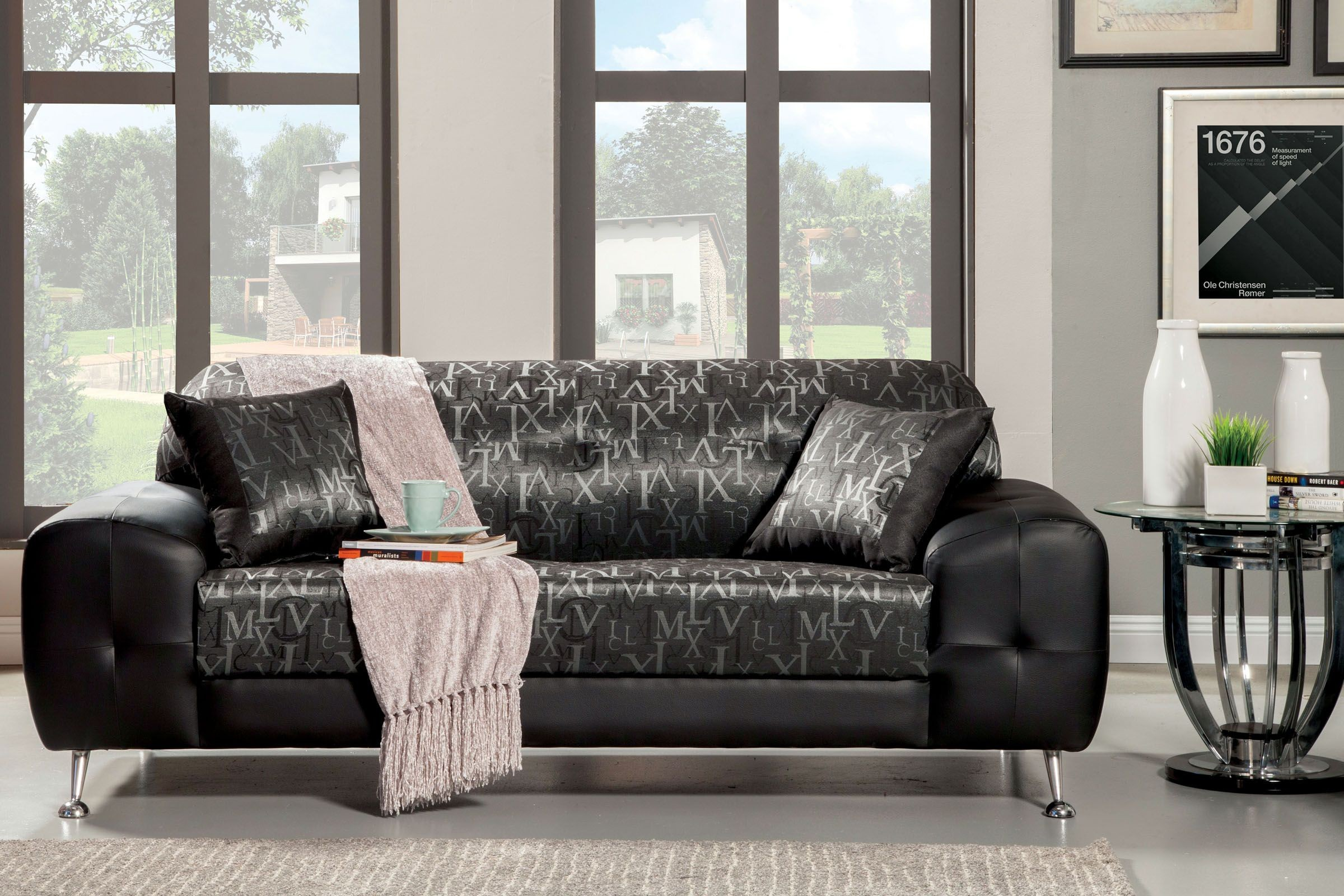 Avdira silver typographic fabric living room set from furniture of america sm6063 sf coleman - Silver living room furniture ...