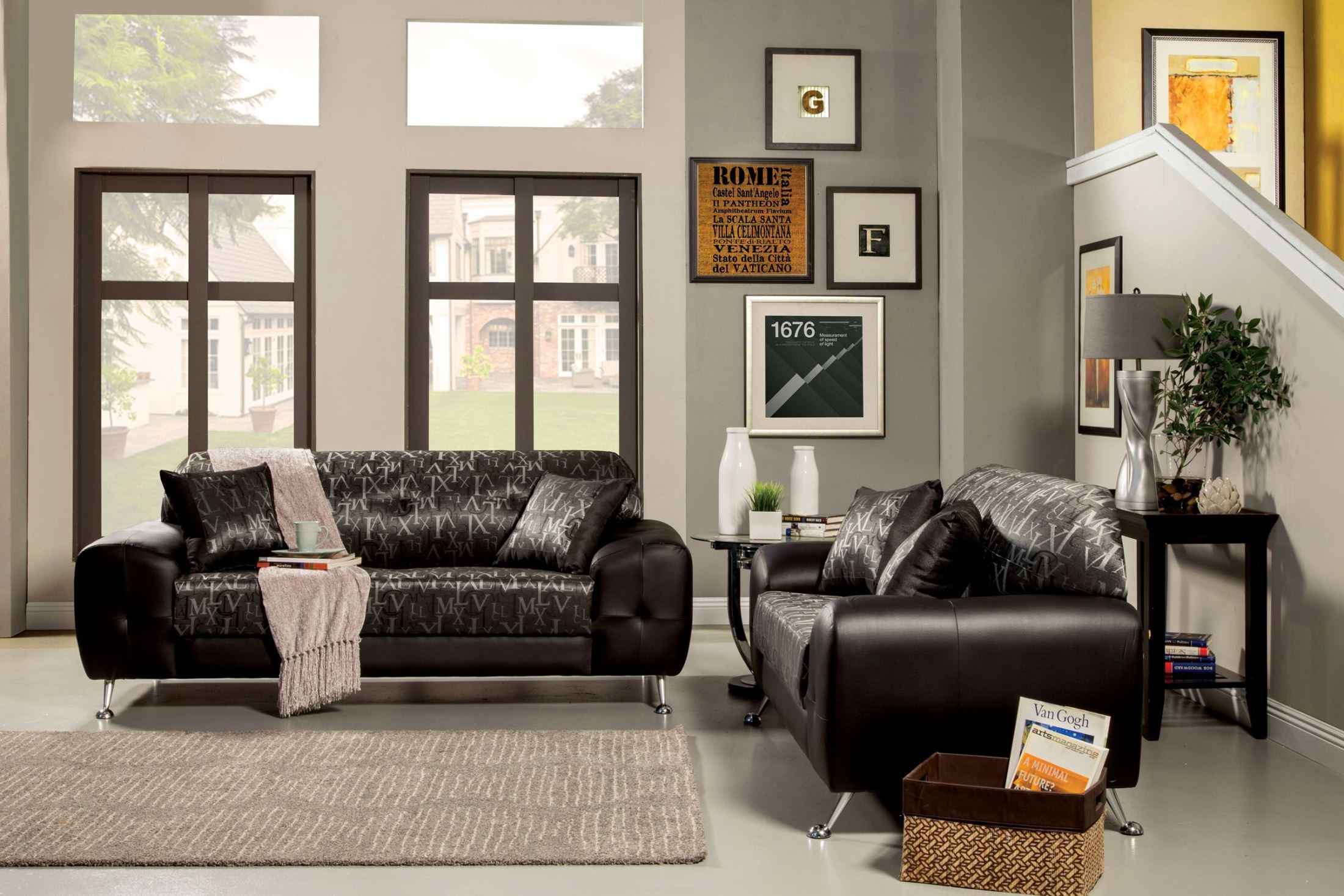 Avdira Silver Typographic Fabric Living Room Set SM6063 SF Furniture Of Ame