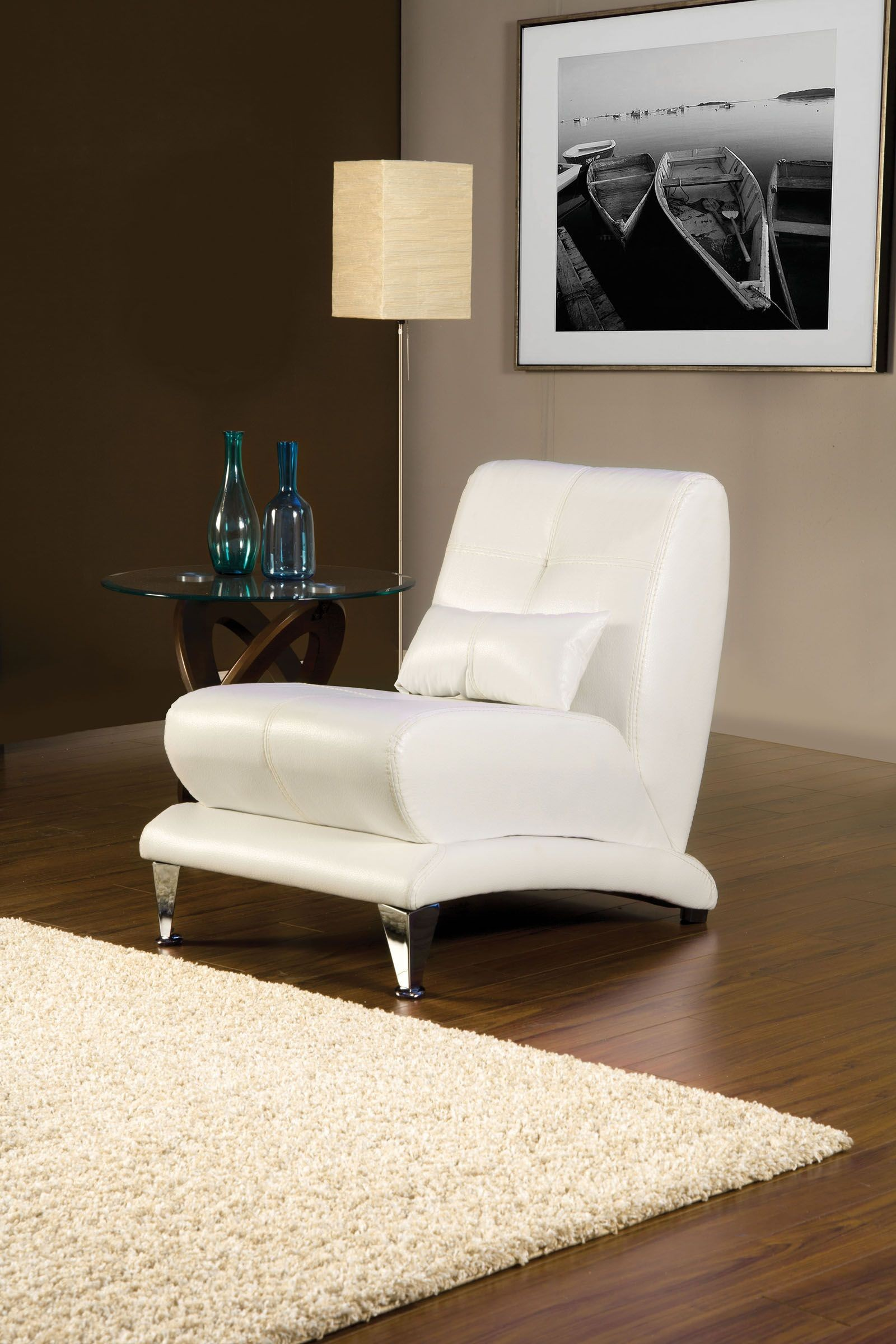 Artem White Leatherette Living Room Set From Furniture Of