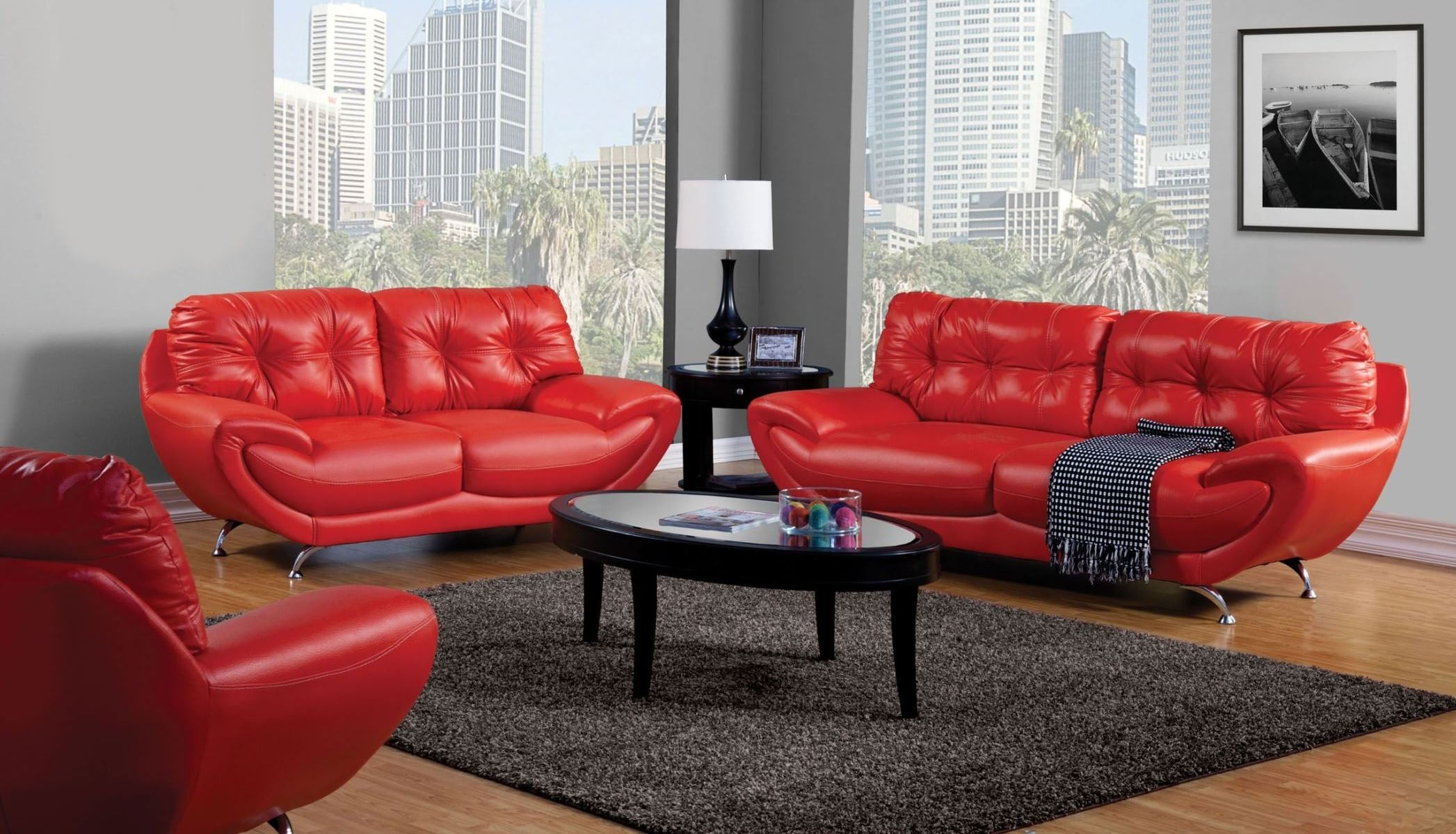 Volos red living room set from furniture of america for Red living room set