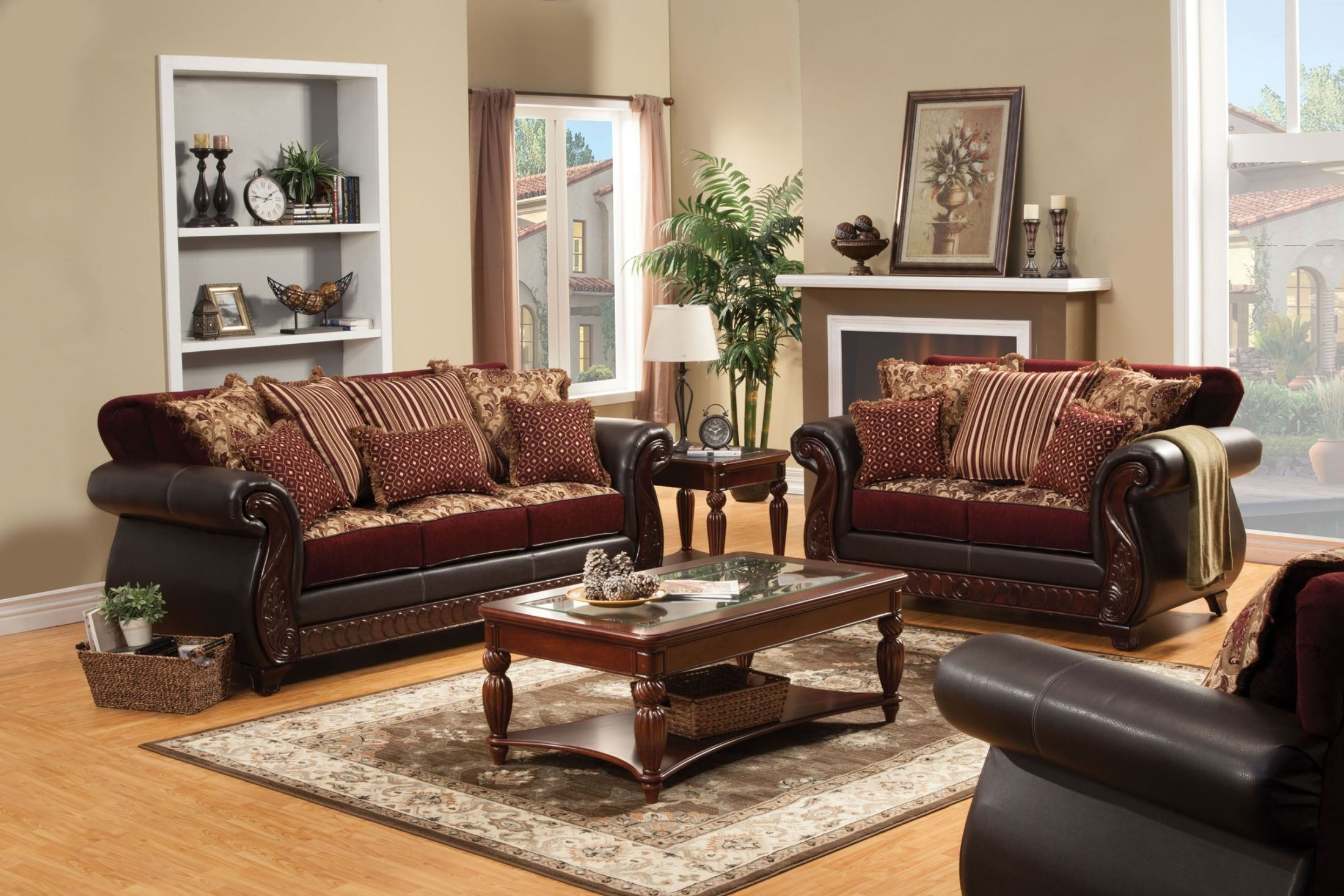 Franklin burgundy fabric and leatherette living room set for Living room chair set
