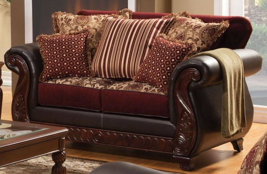 Franklin Burgundy Fabric And Leatherette Living Room Set From Furniture Of Am