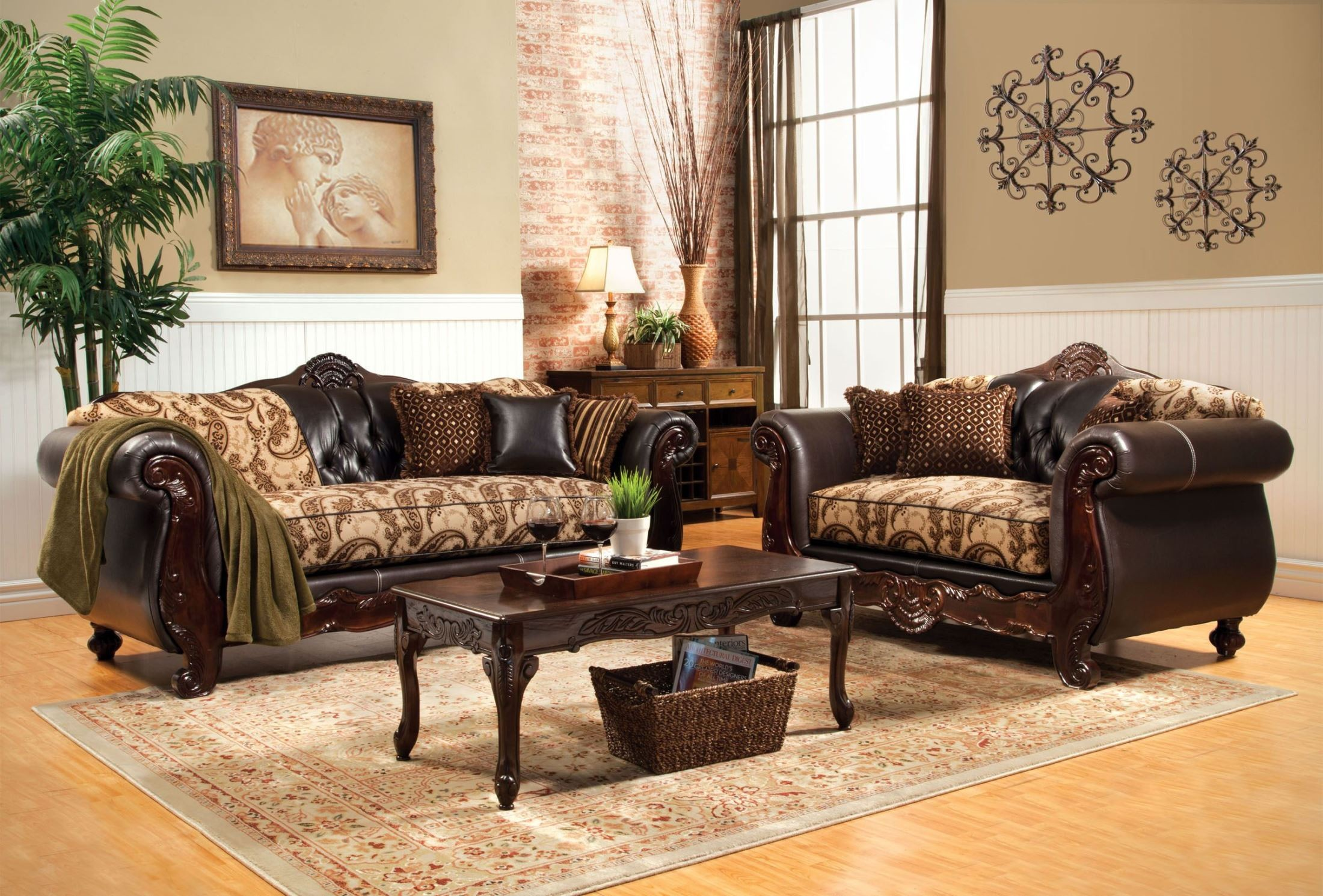 Bonaparte Floral Fabric And Leatherette Living Room Set From Furniture Of Ame