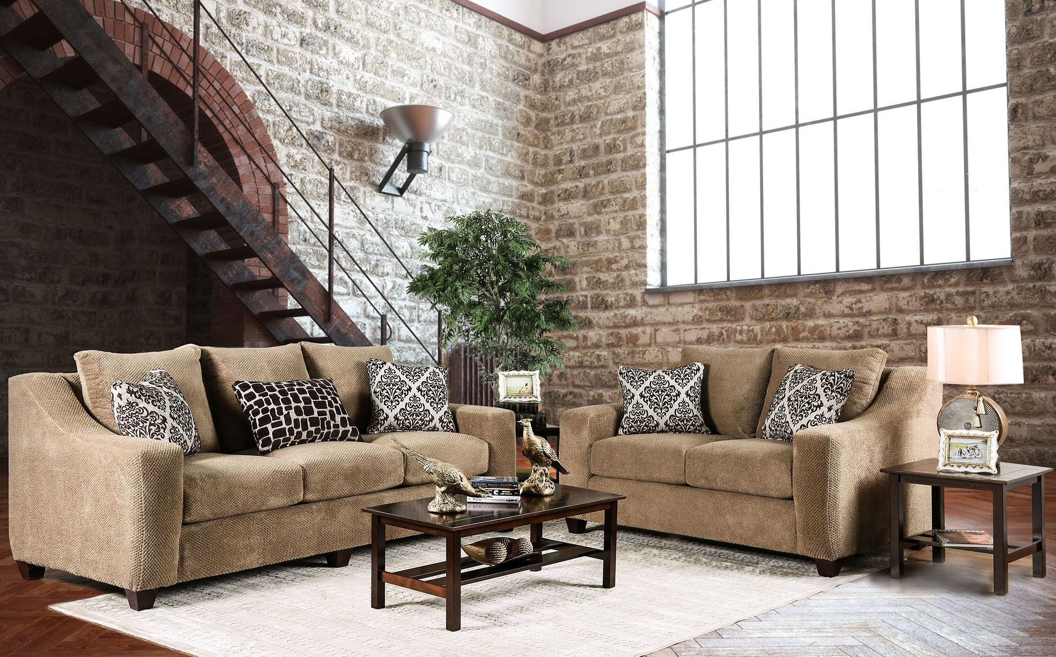 Sullivan Mocha Upholstered Living Room Set Sm6132 Sf Furniture Of America