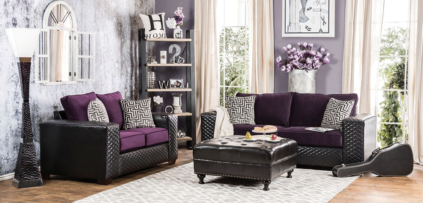 Biden Purple And Black Living Room Set SM6304 SF Furniture Of America