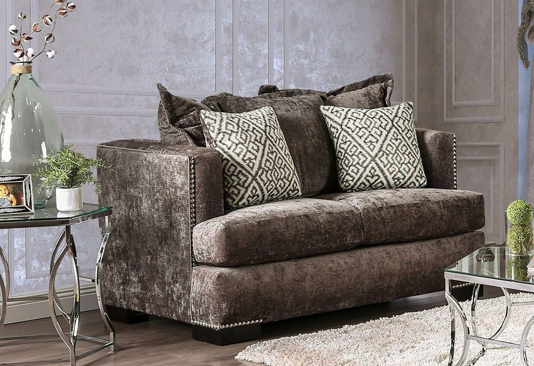 Maisie silver living room set sm6401 sf furniture of america - Silver living room furniture ...