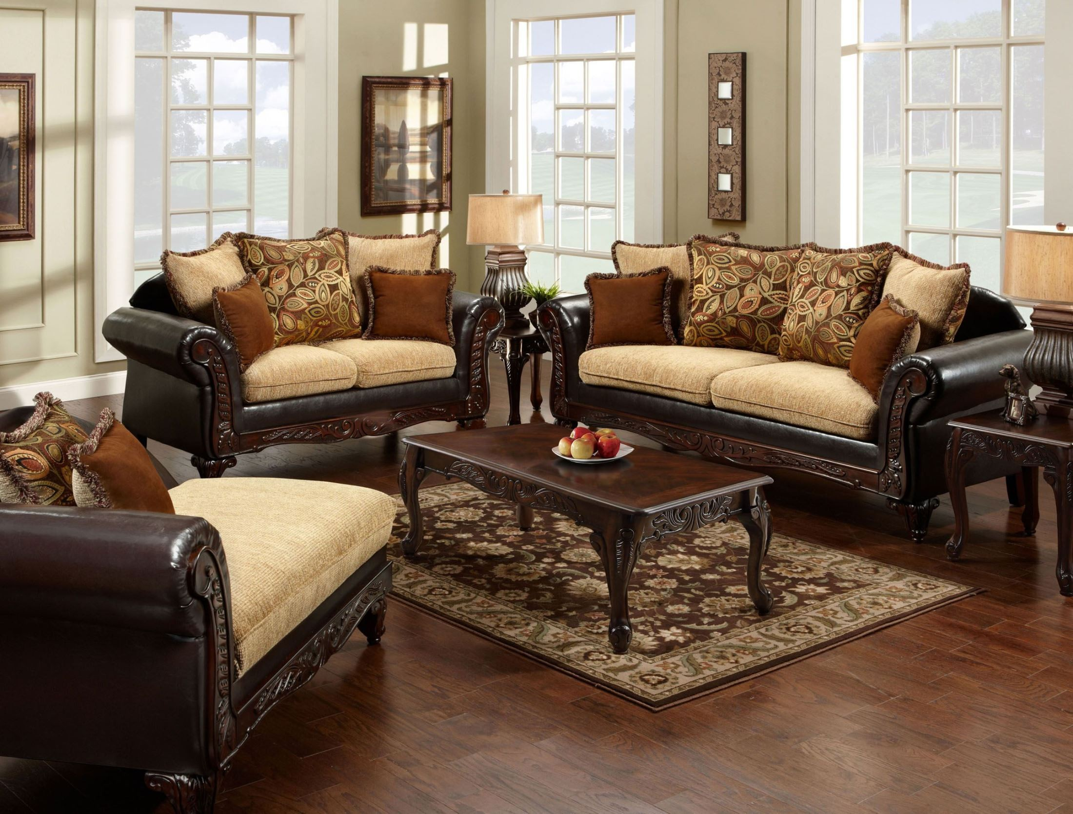 Doncaster Fabric And Espresso Leatherette Living Room Set From Furniture Of A