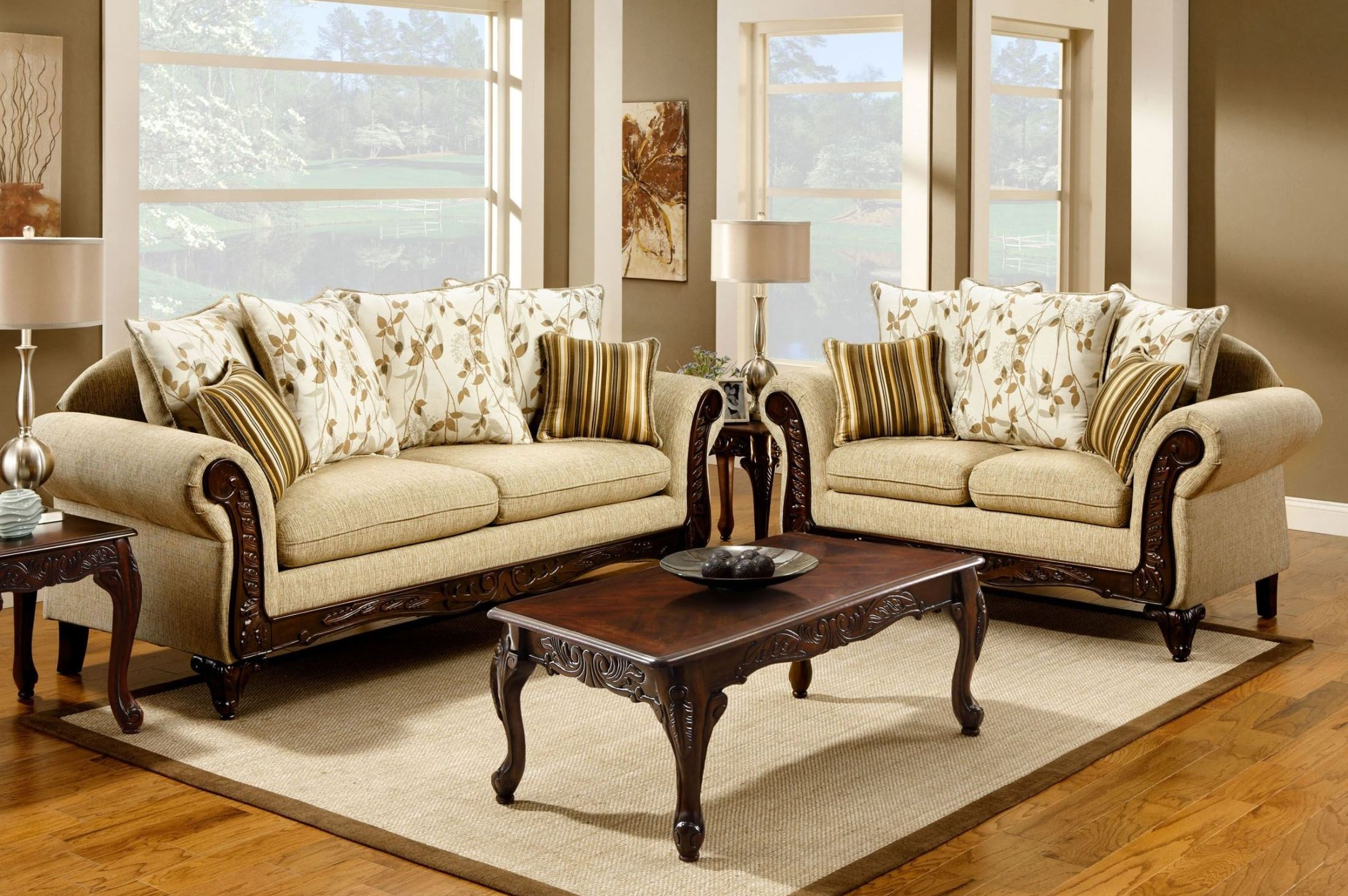 Doncaster Tan Fabric Living Room Set From Furniture Of America SM7435 SF