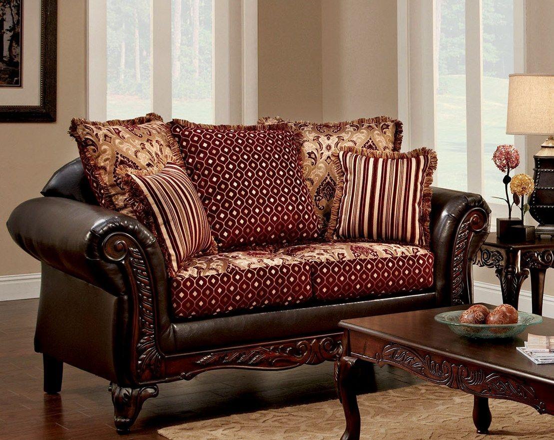 Ellis brown and burgundy living room set sm7507 sf for Burgundy living room set