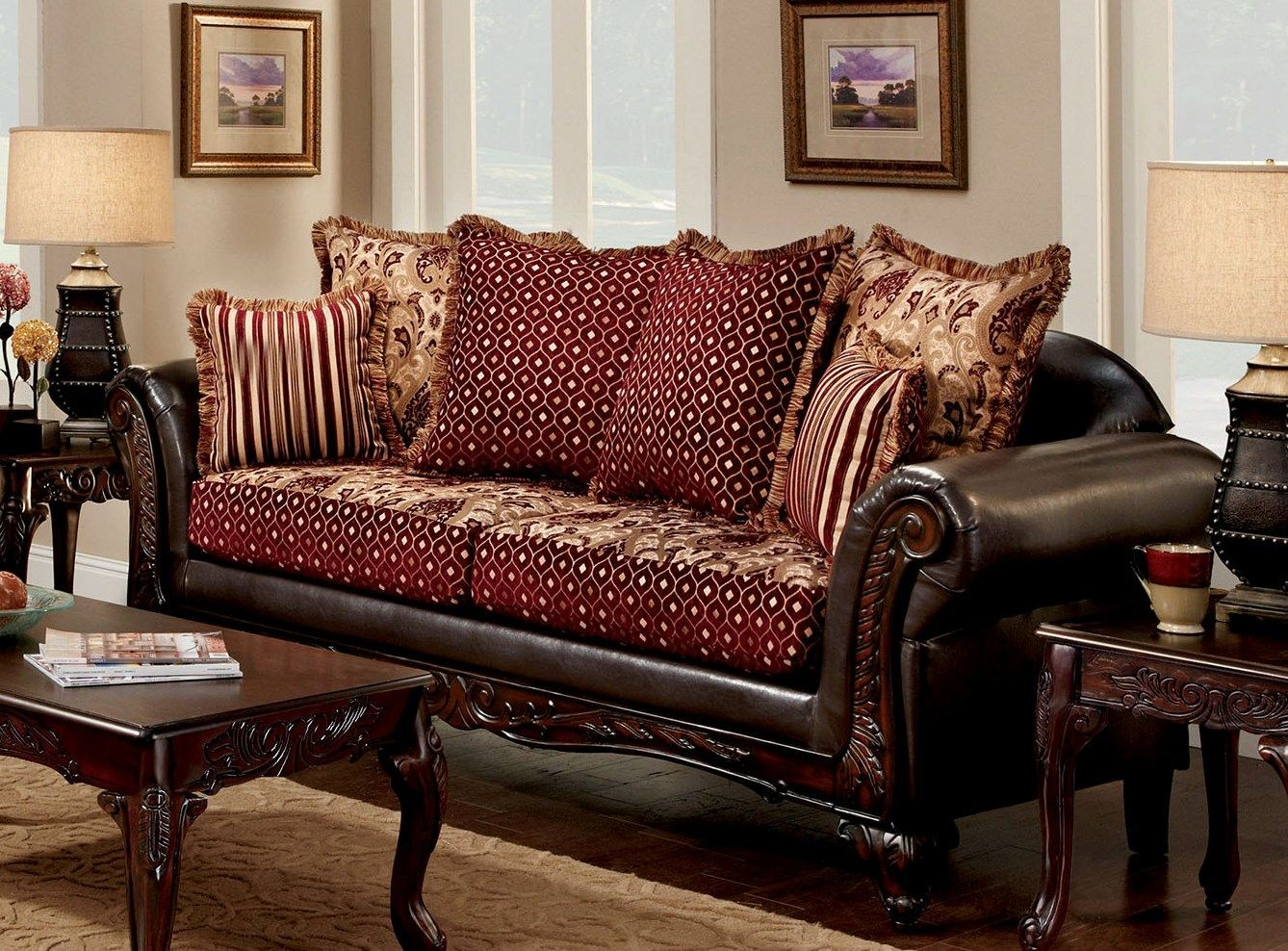 Ellis brown and burgundy living room set sm7507 sf for Maroon and brown living room
