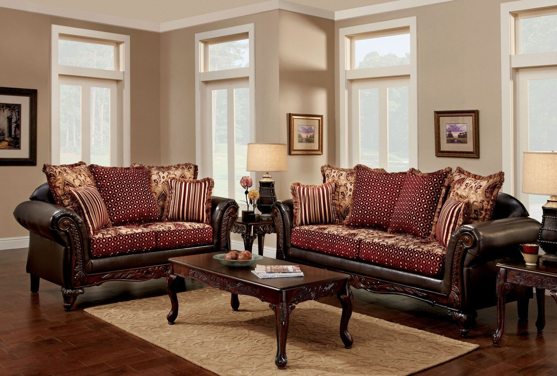 Ellis brown and burgundy living room set sm7507 sf furniture of america