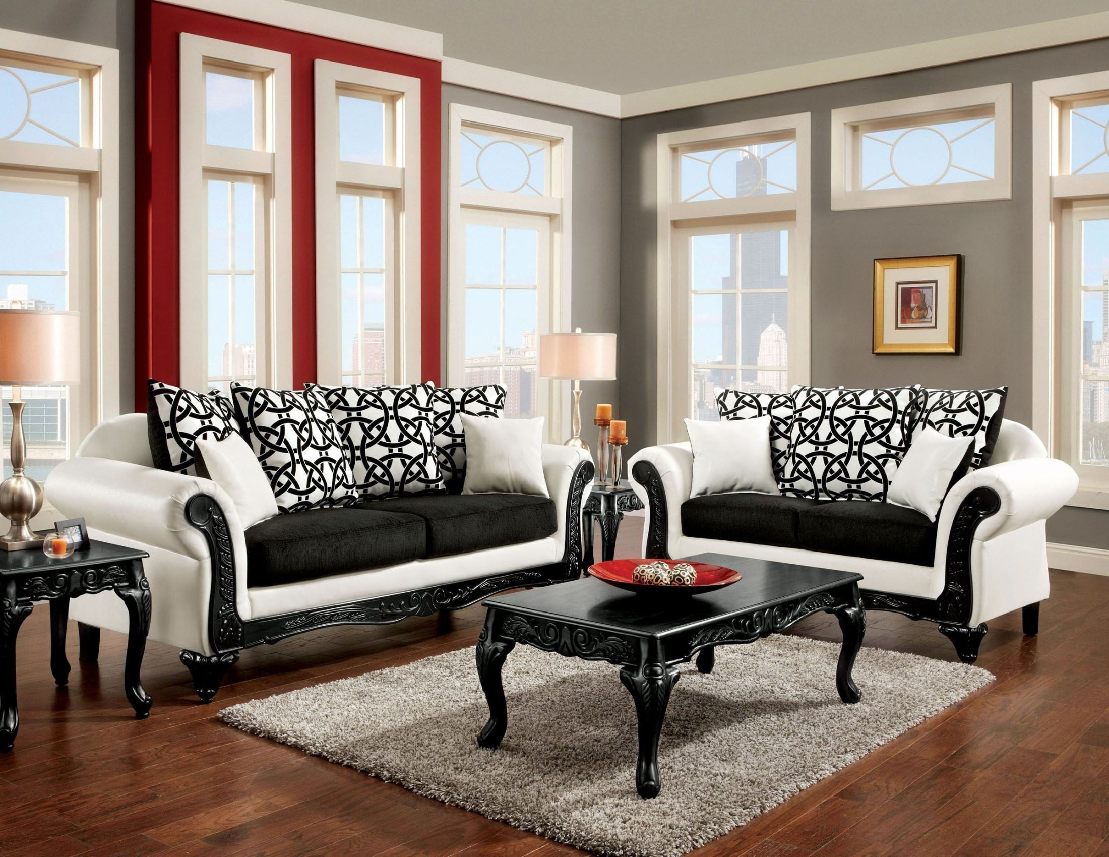 Dolphy Black And White Leatherette Living Room Set SM7600 SF