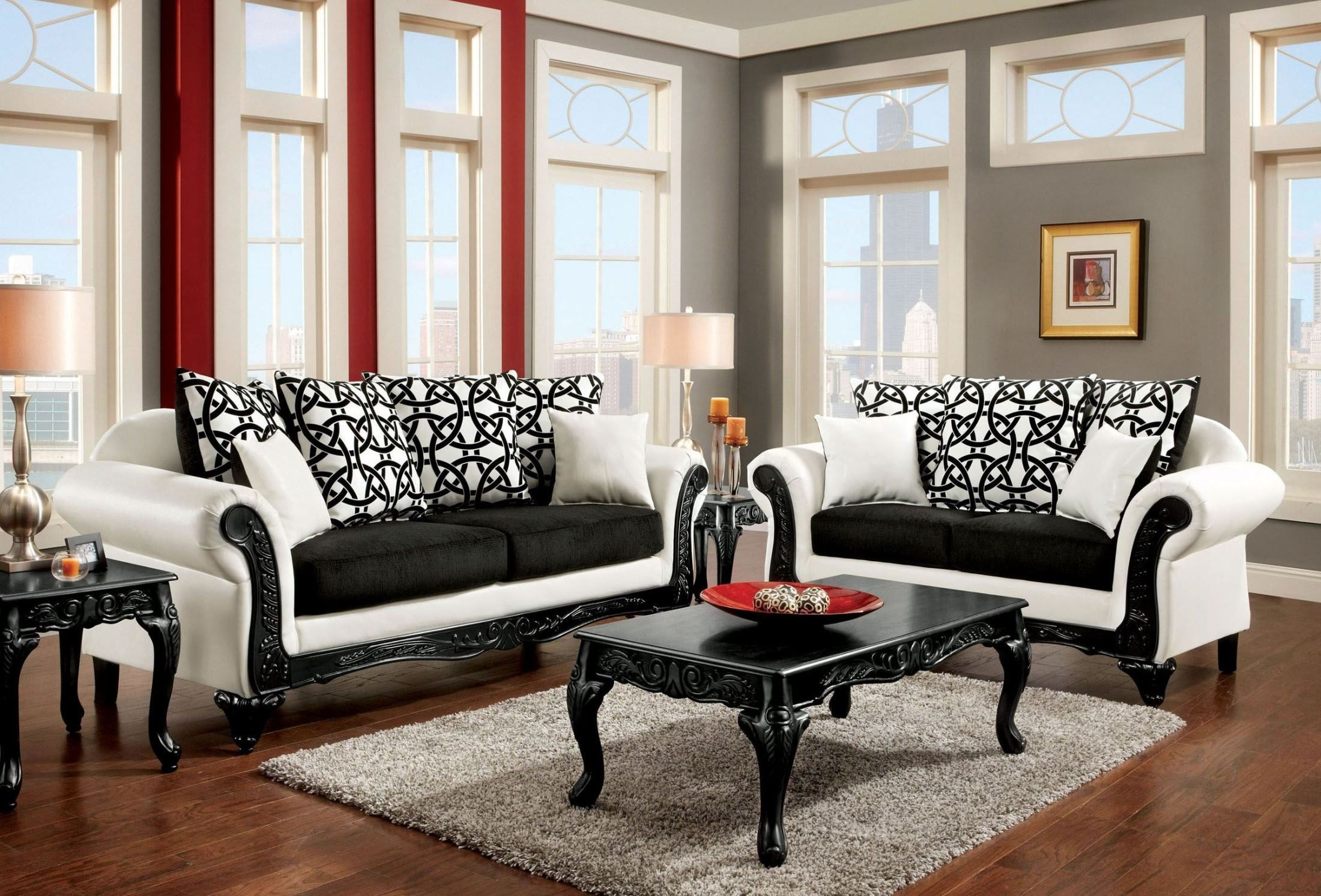 dolphy black and white leatherette living room set from furniture of america sm7600 sf. Black Bedroom Furniture Sets. Home Design Ideas