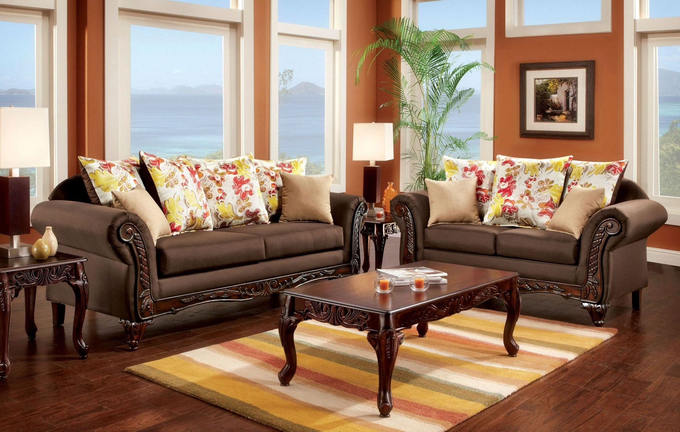 Branford dark brown living room set from furniture of for Dark brown living room set