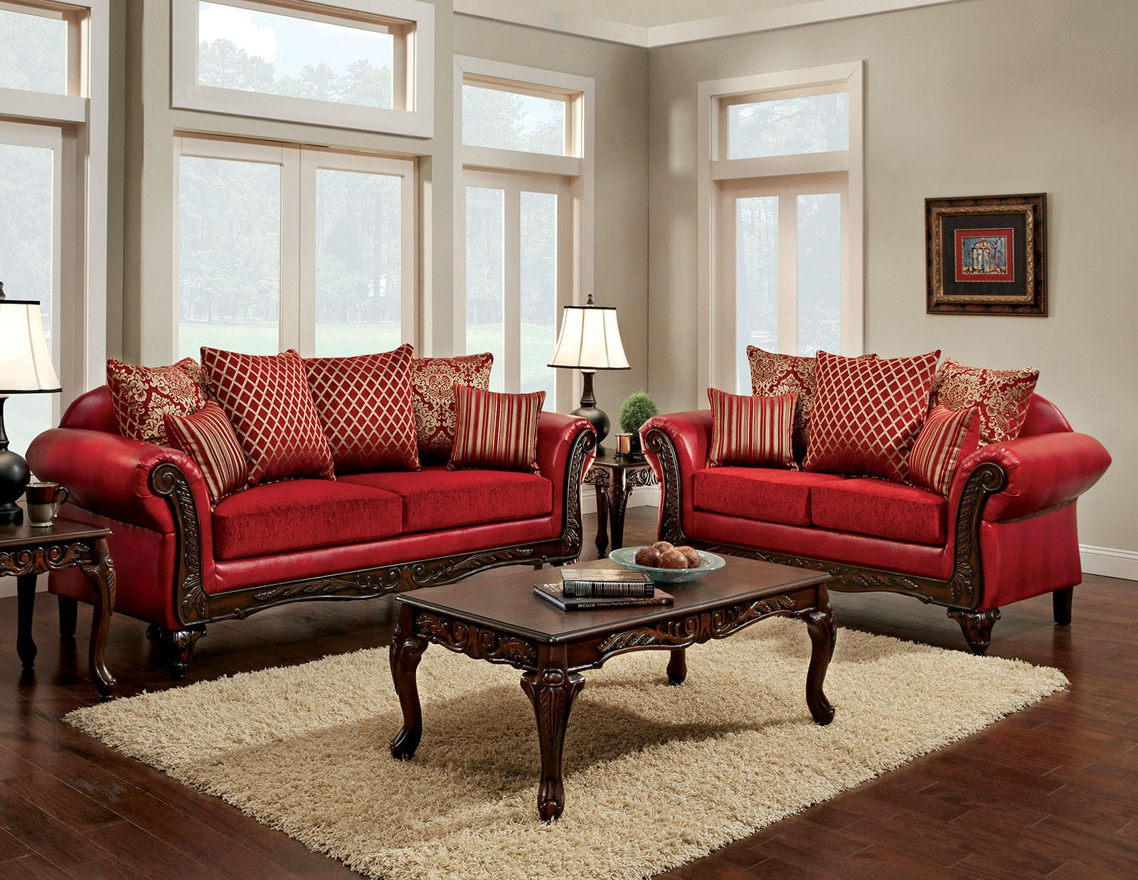 Marcus red living room set sm7640 sf furniture of america for Red living room furniture