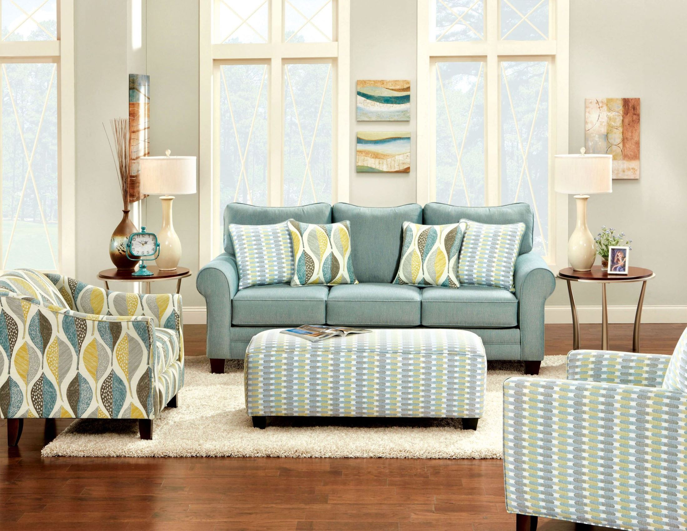 Brubeck soft teal living room set sm8140 sf furniture of for Blue living room chairs