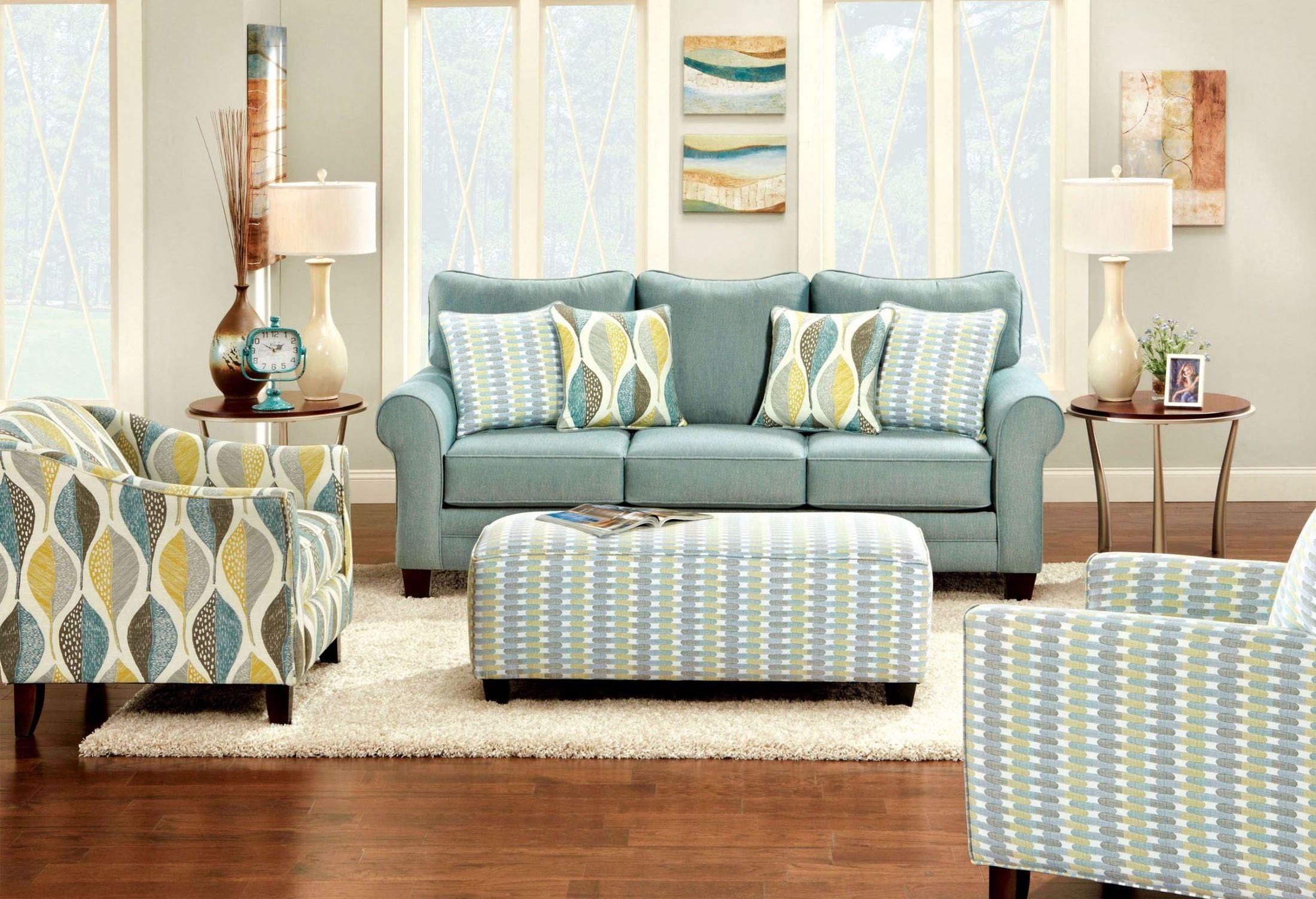 Brubeck Soft Teal Living Room Set From Furniture Of