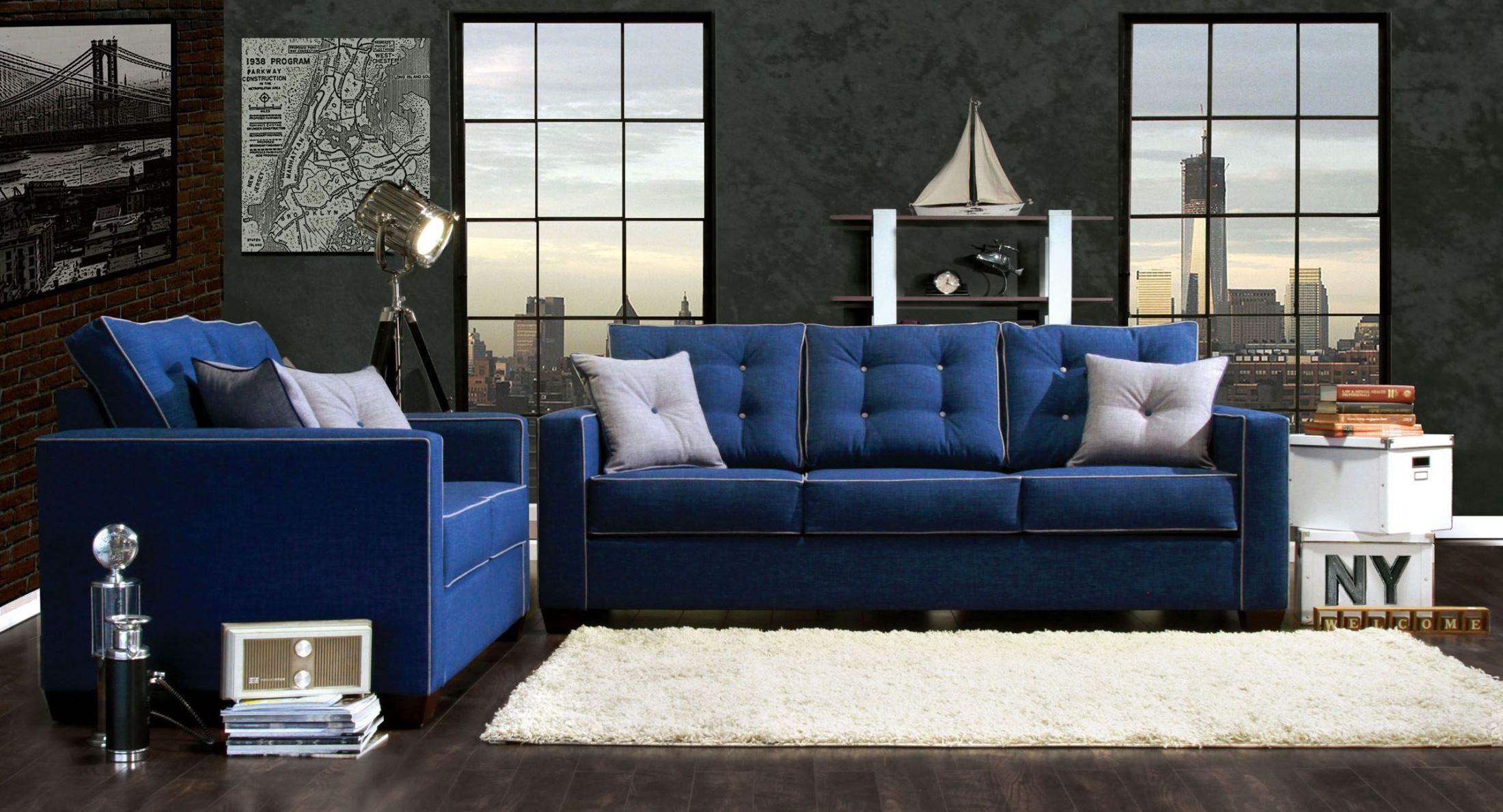 Ravel i blue fabric living room set from furniture of for M s living room furniture