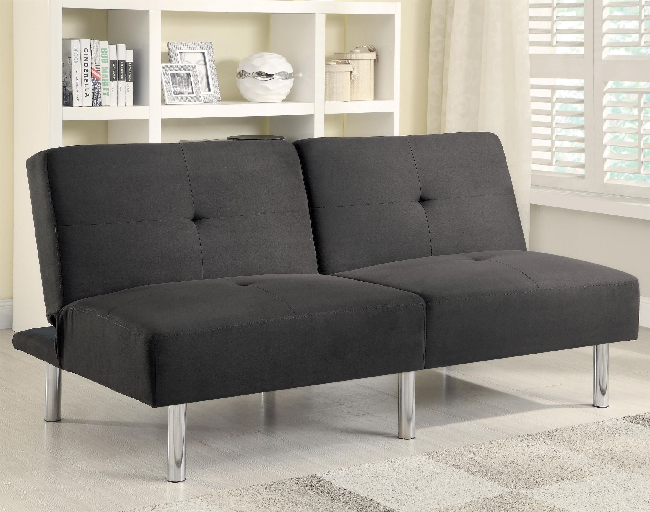 These 6 Pieces Of Colorful Furniture Are Absolute Must Haves: 300206 Charcoal Microfiber Split Back Sofa Bed From