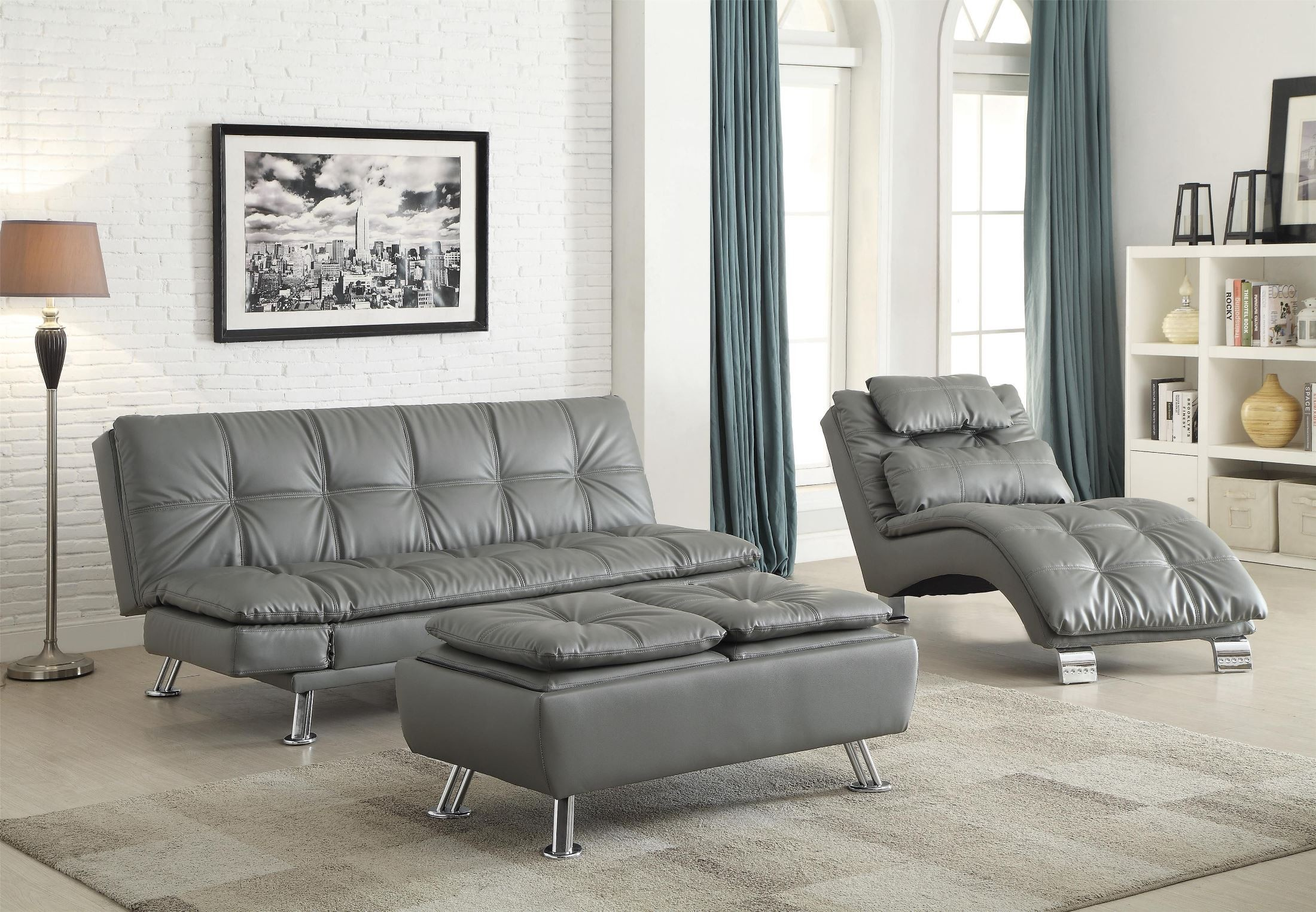 dilleston futon style living room set from coaster 500096 - Futon Living Room Set