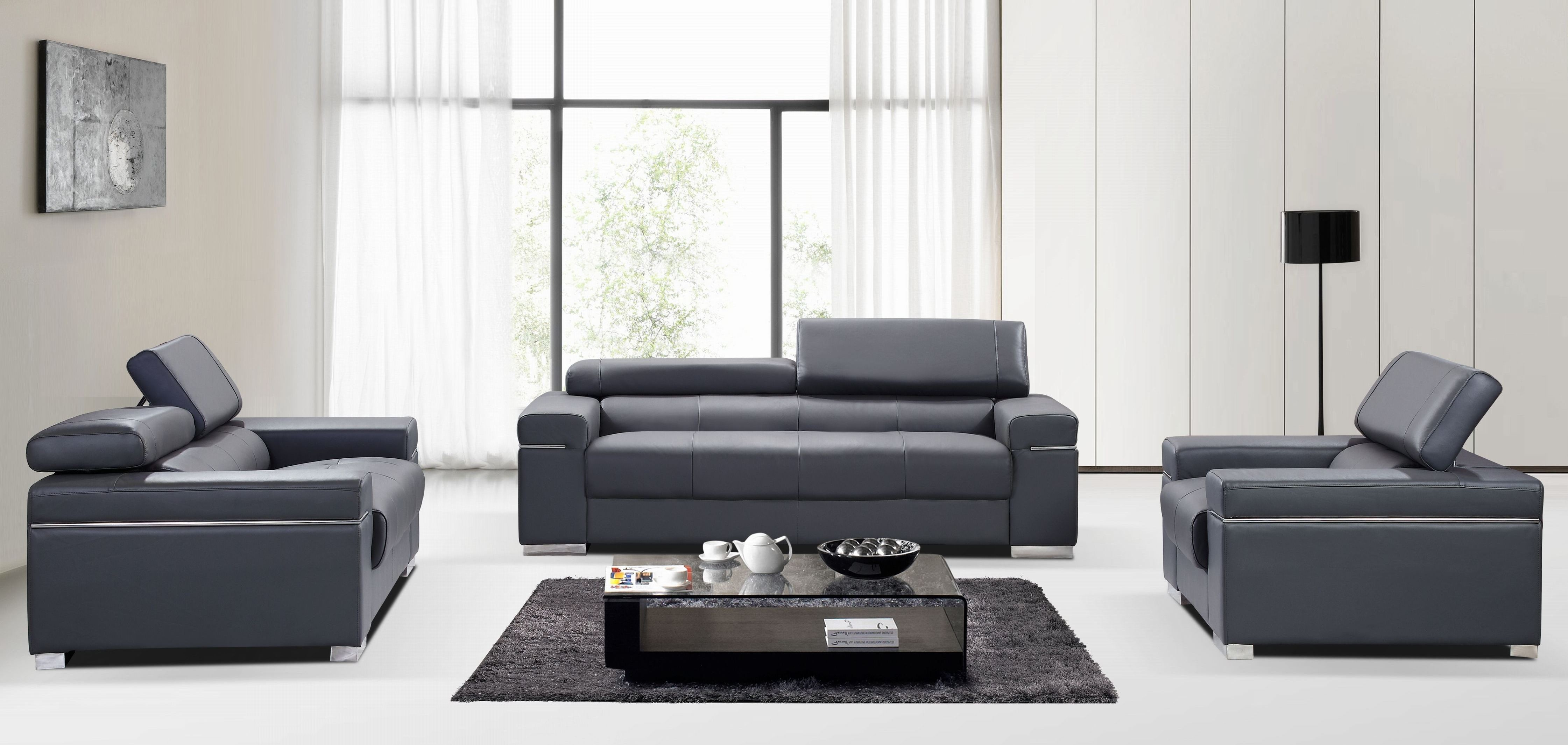 Soho grey leather living room set from j m 176551113 s gr for Gray leather living room furniture