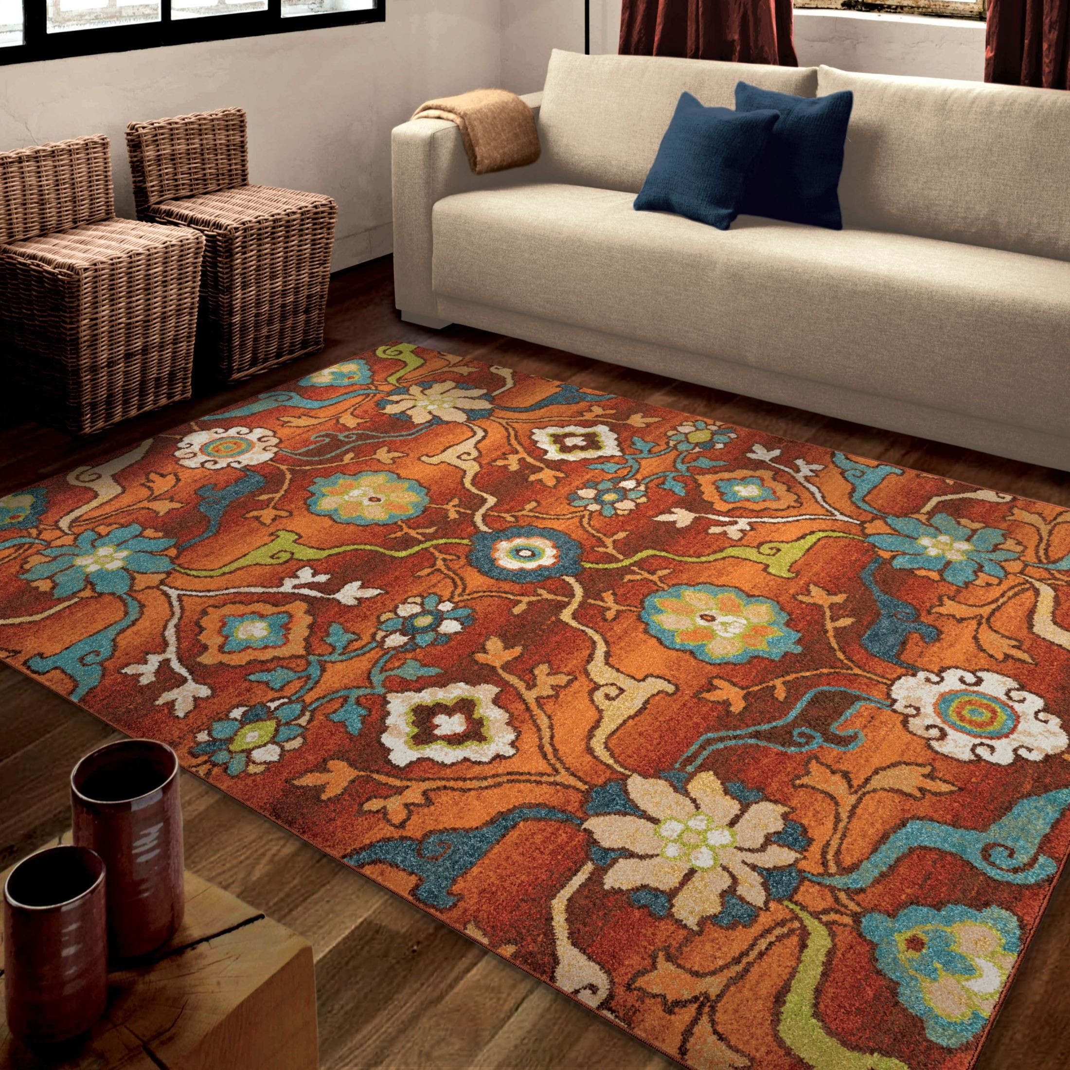 Orian rugs bright color floral tibet red area large rug for Large red area rugs
