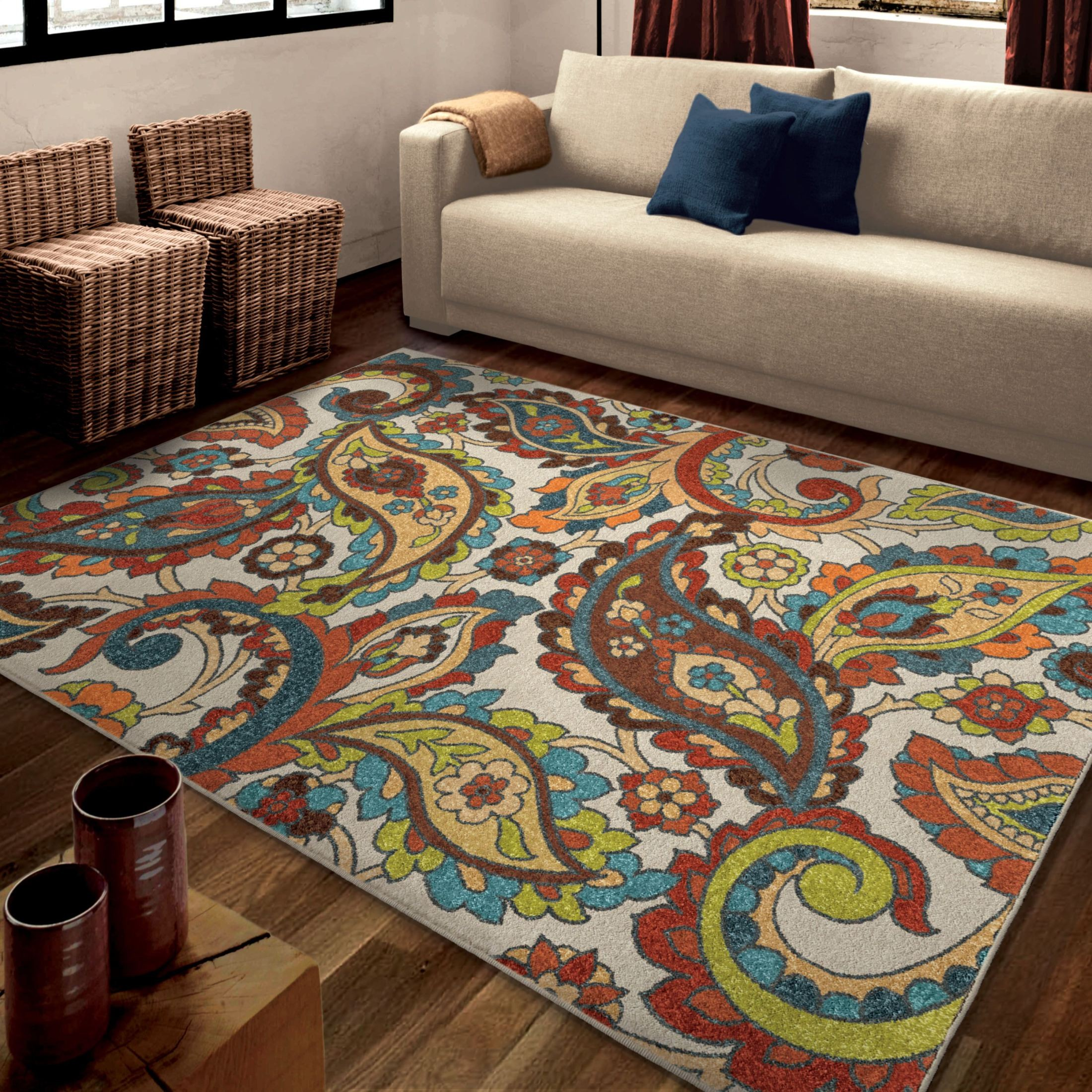 orian rugs bright color paisley ginger garden multi area small rug 2829 5x8 orian rugs. Black Bedroom Furniture Sets. Home Design Ideas
