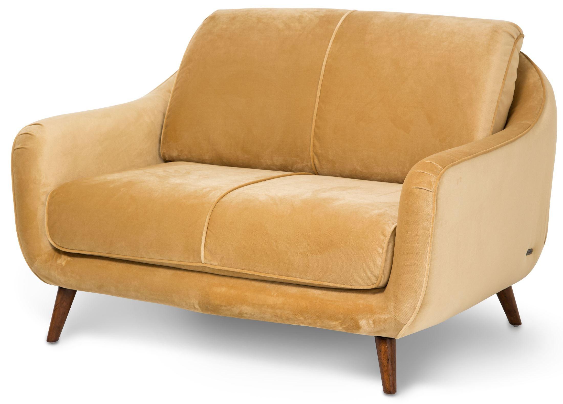 Studio Brussels Gold Upholstered Loveseat St Brusl25 Sun 45 Aico