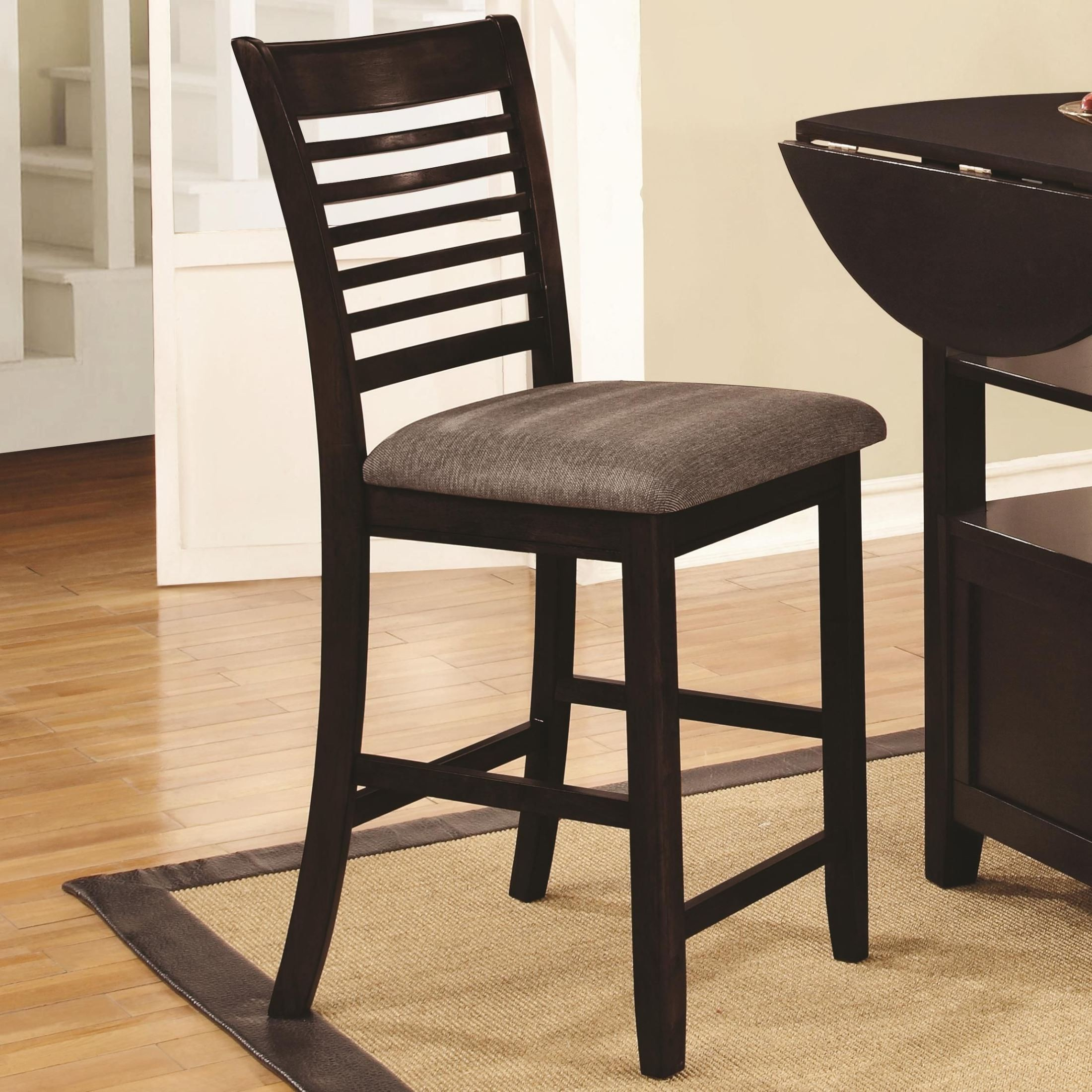 Stockton charcoal upholstered counter height chair set of 2 105399