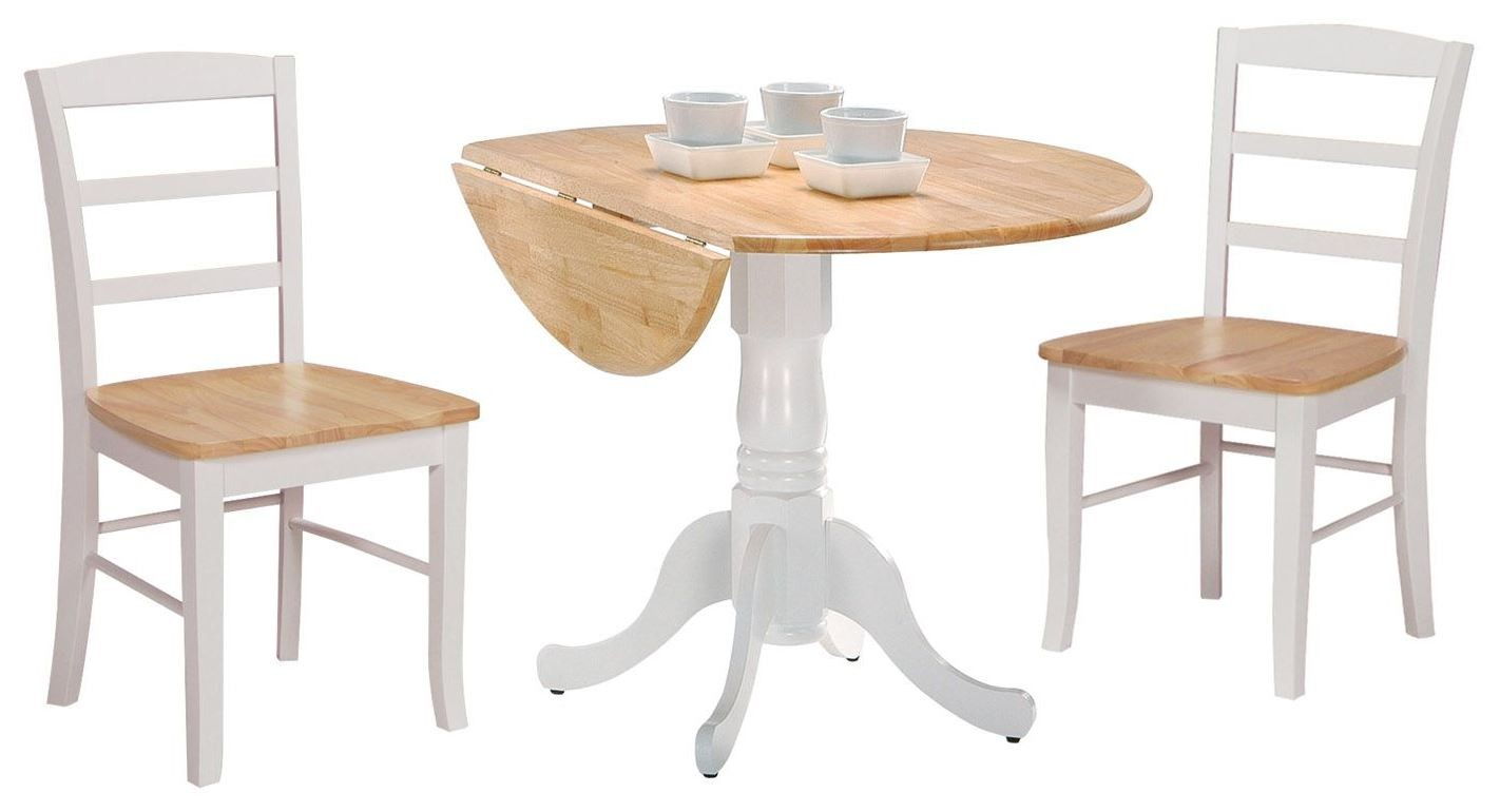 Dining essentials white natural 42 round drop leaf dining for Dining room essentials