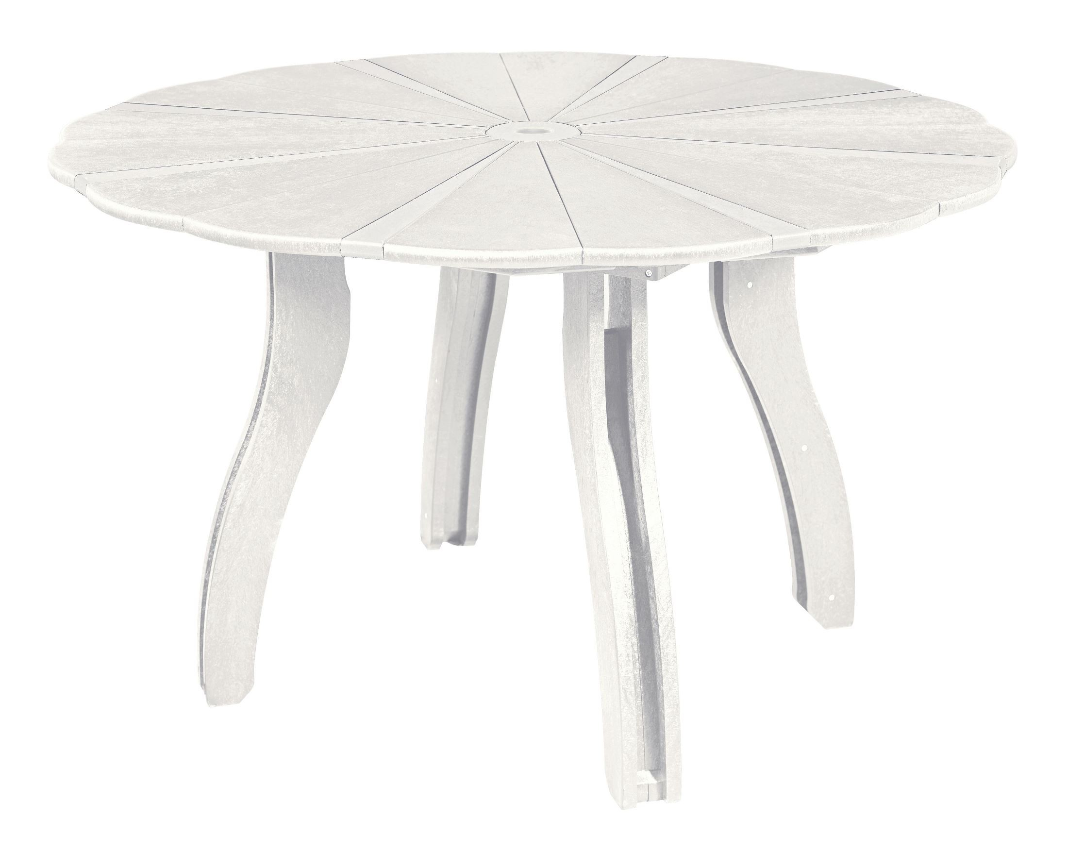 Generations white 52 scalloped round dining table from cr for Round dining table 52 inch