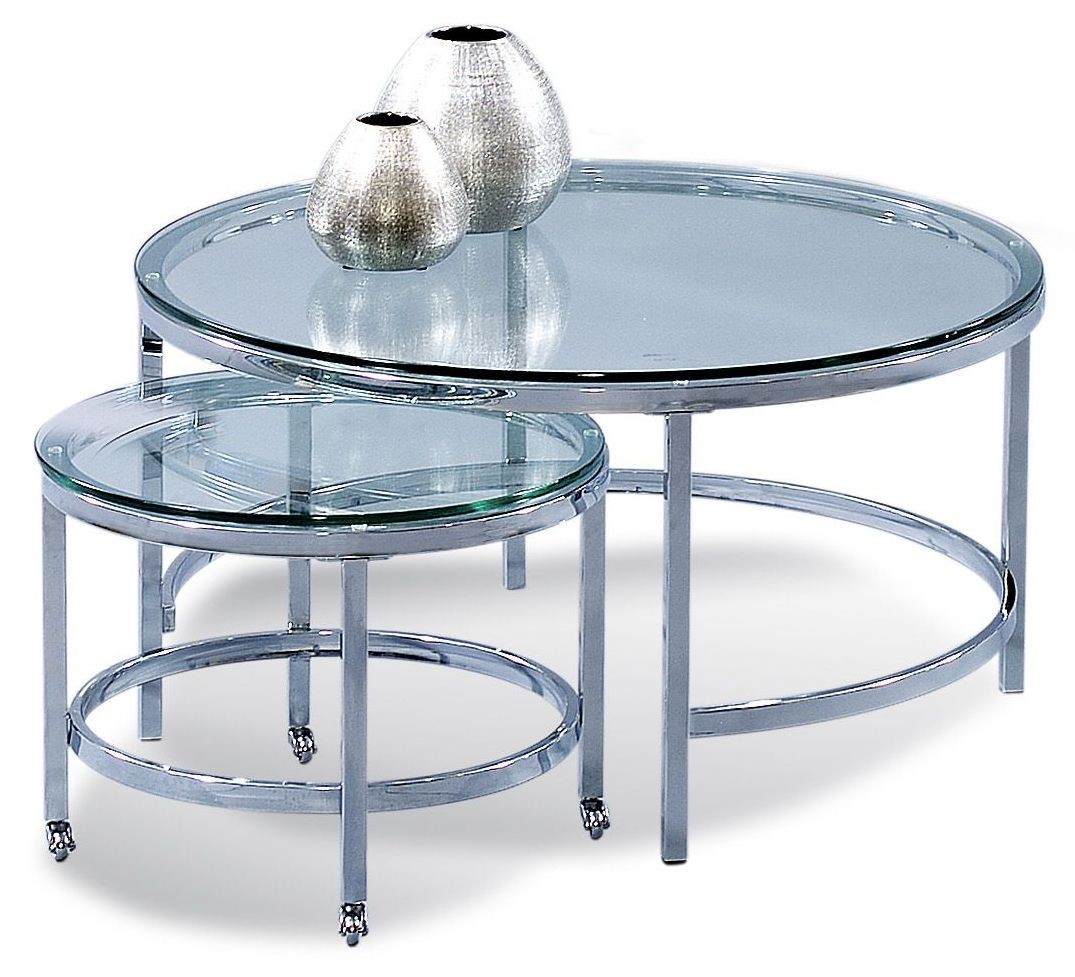Patinoire Polished Chrome Round Cocktail Table With Casters T1792 120cec Bassett Mirror