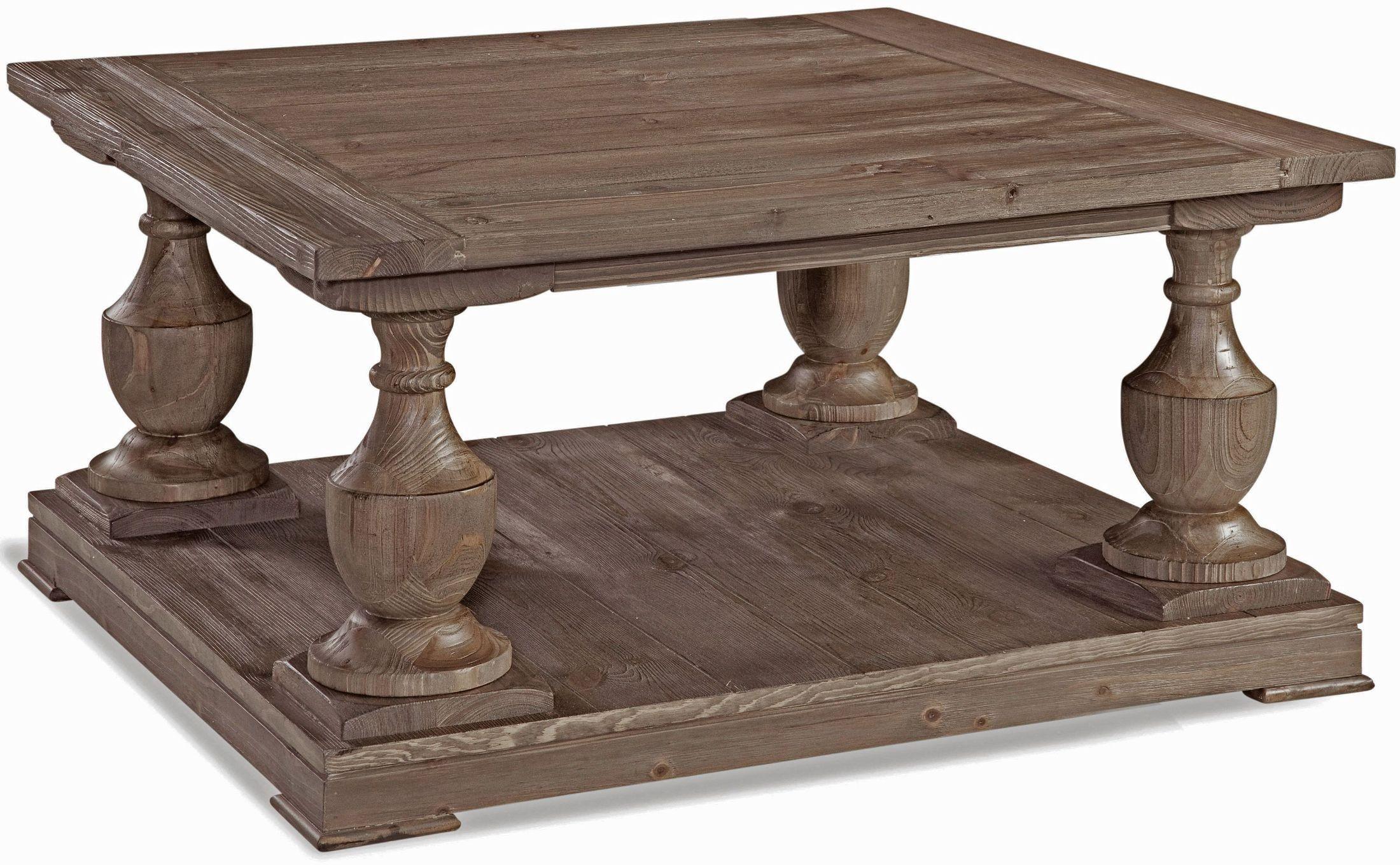 Hitchcock smoked barnwood square cocktail table t2618 for Square cocktail table