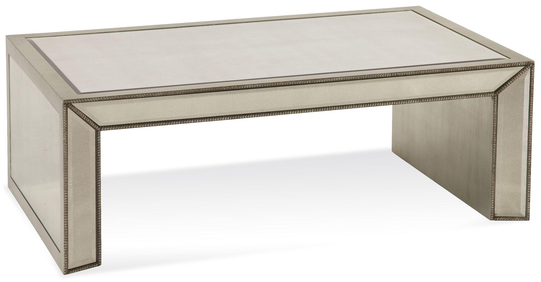 Murano antique mirrored rectangular cocktail table t2624 for Mirrored rectangular coffee table