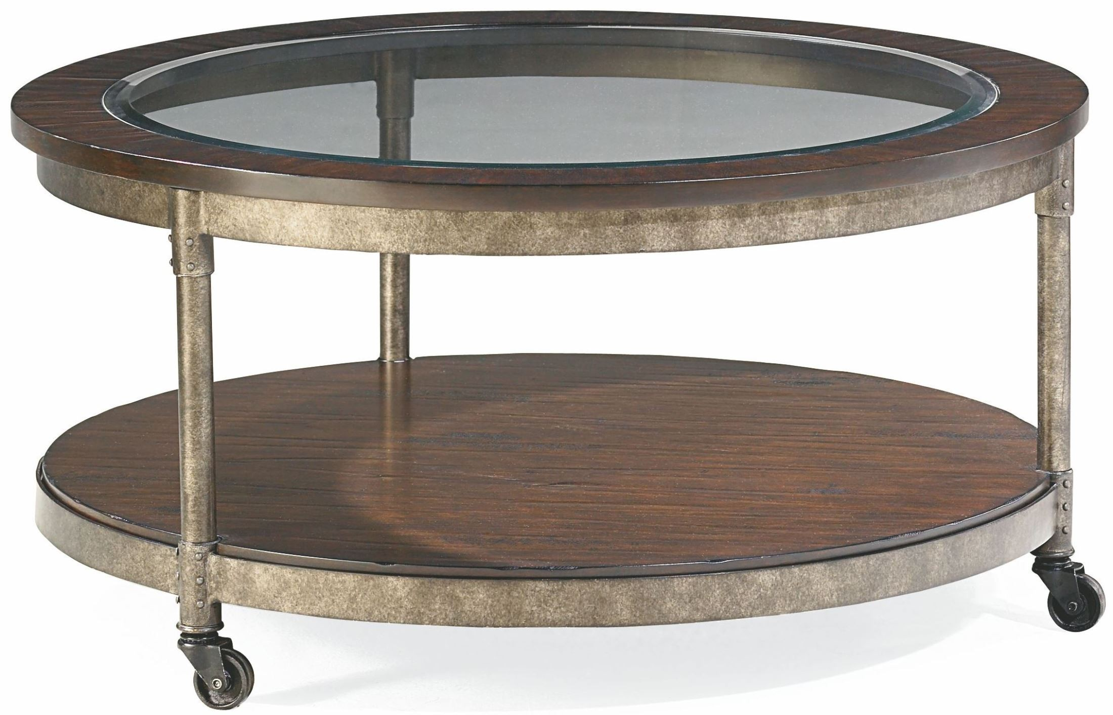 Structure Heavily Distressed Brown Round Cocktail Table T30020 T3002005 00 Hammary