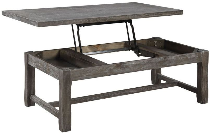 Paladin rustic charcoal lift top cocktail table t3504 for Charcoal coffee table