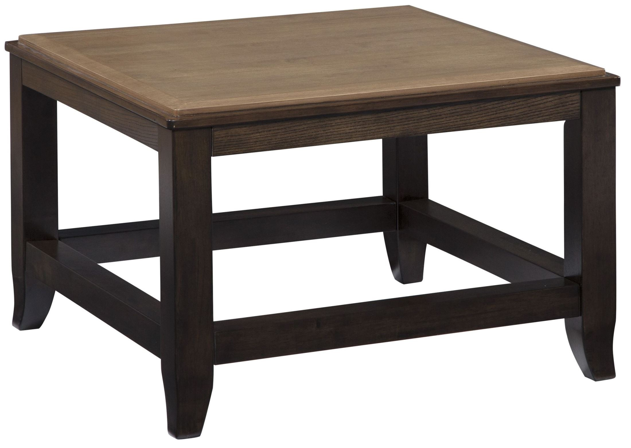 Mandoro two tone brown square cocktail table from ashley for Square cocktail table