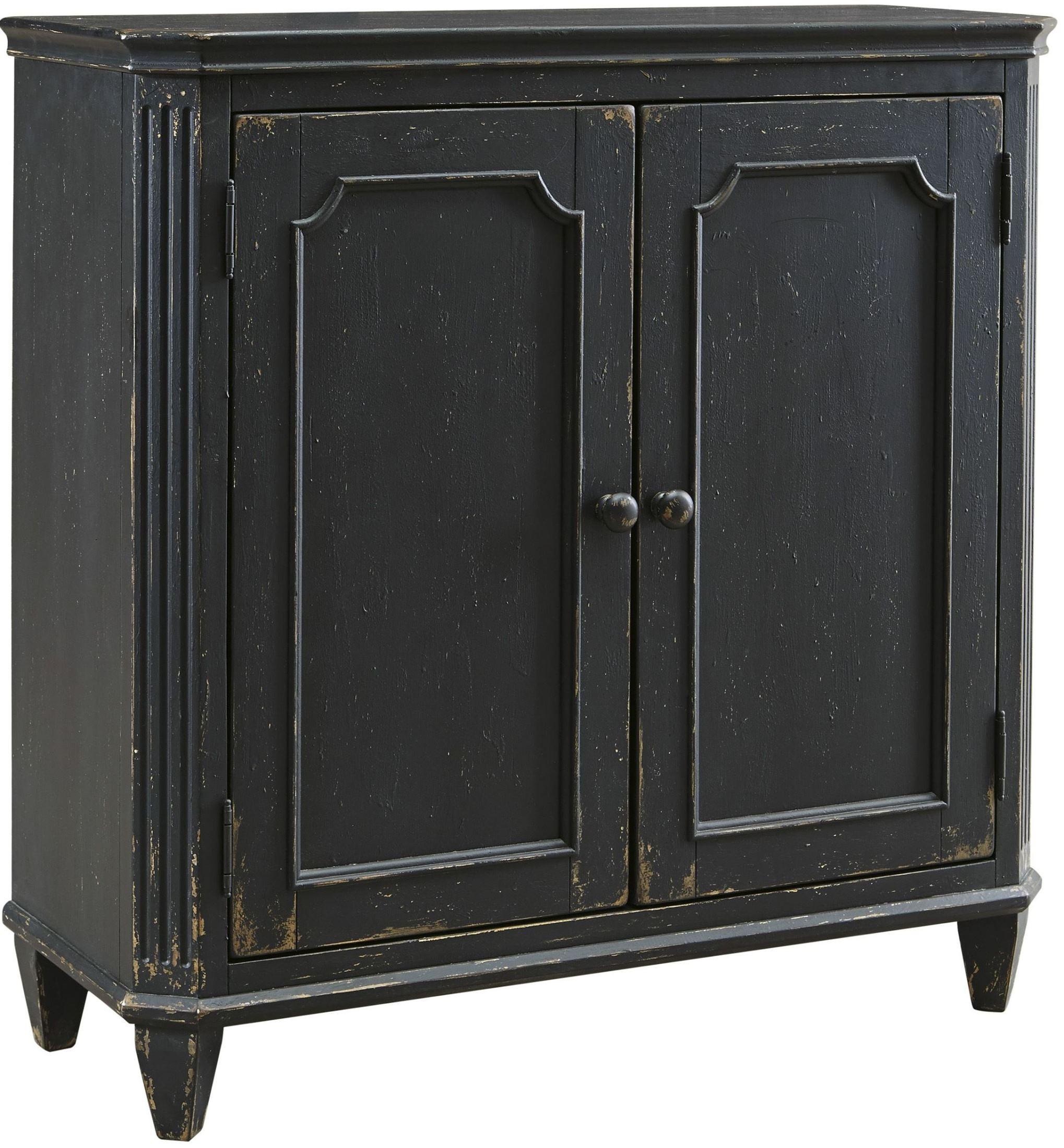 Mirimyn antique black door accent cabinet t505 840 ashley for Black cabinet with doors
