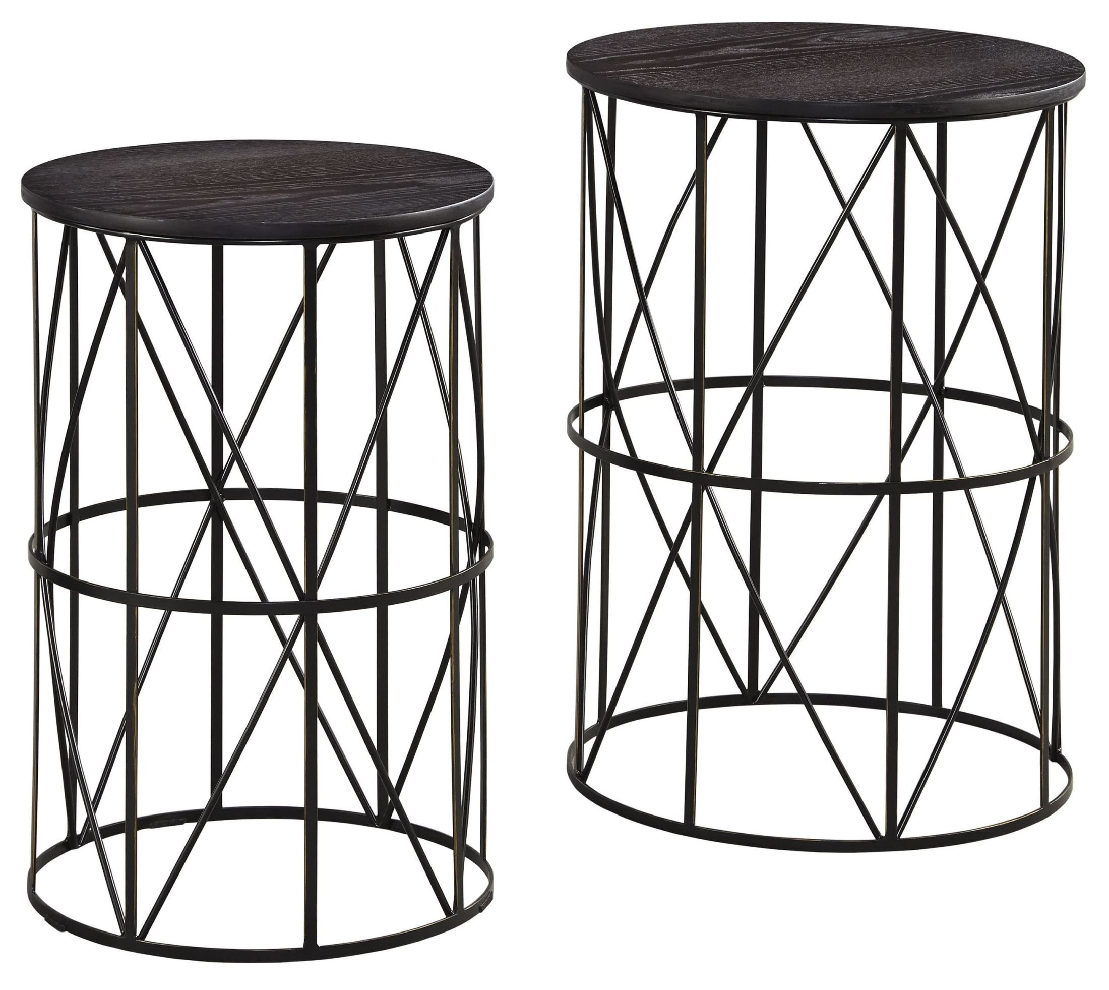 Marxim dark bronze nesting end tables set of 2 from ashley for Black wood end tables