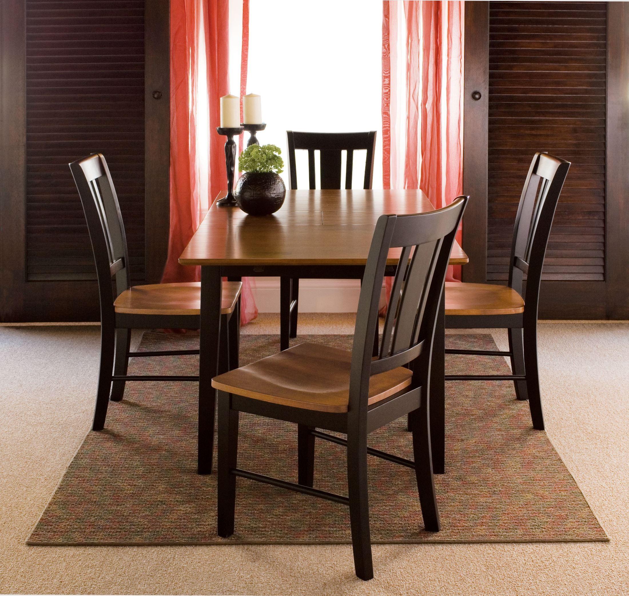 Black Cherry Rectangular Extendable Dining Room Set With Shaker Legs