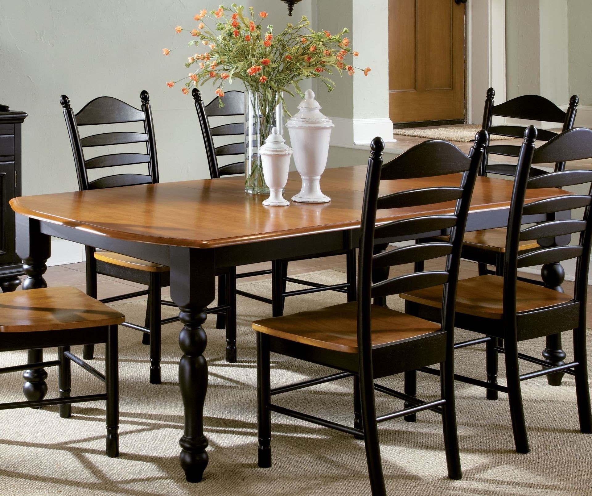 Madison Park Black Cherry Rectangular Extendable Pedestal Dining Table