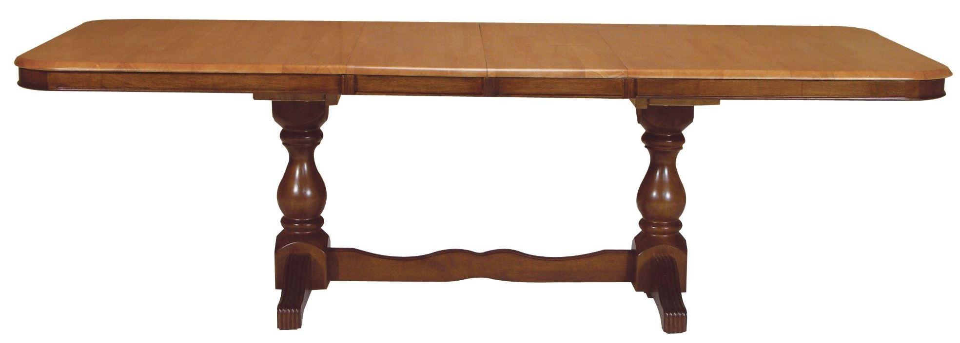 madison park cinnamon espresso rectangular double pedestal extendable dining table t58 4268xbt. Black Bedroom Furniture Sets. Home Design Ideas