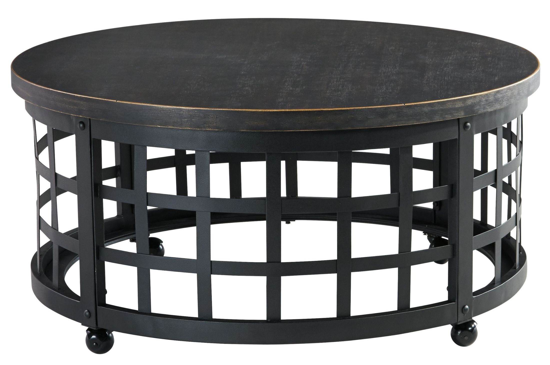 Marimon round cocktail table from ashley t746 8 for Round coffee table with chairs