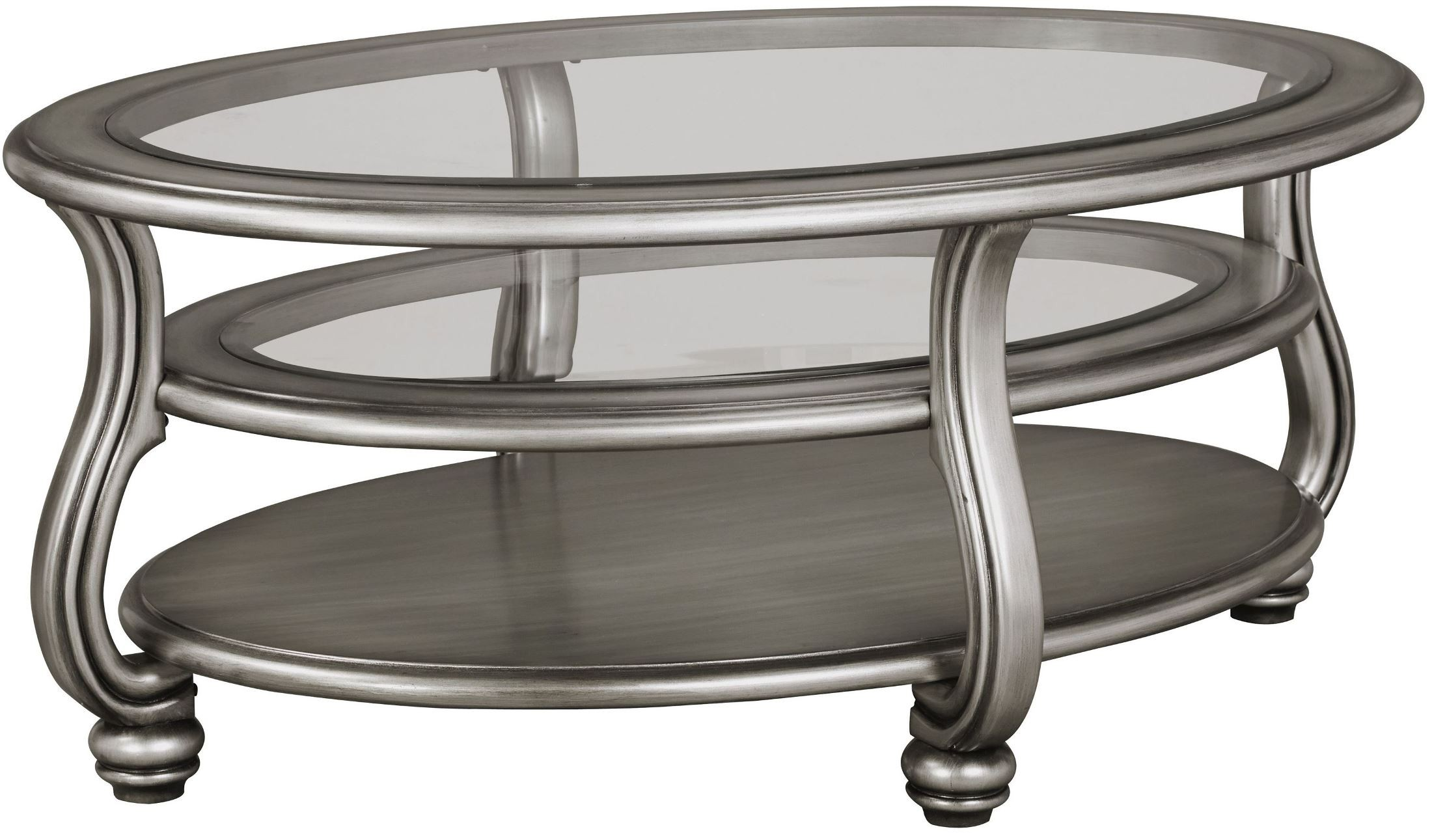 Coralayne Silver Oval Cocktail Table From Ashley T820 0 Coleman Furniture