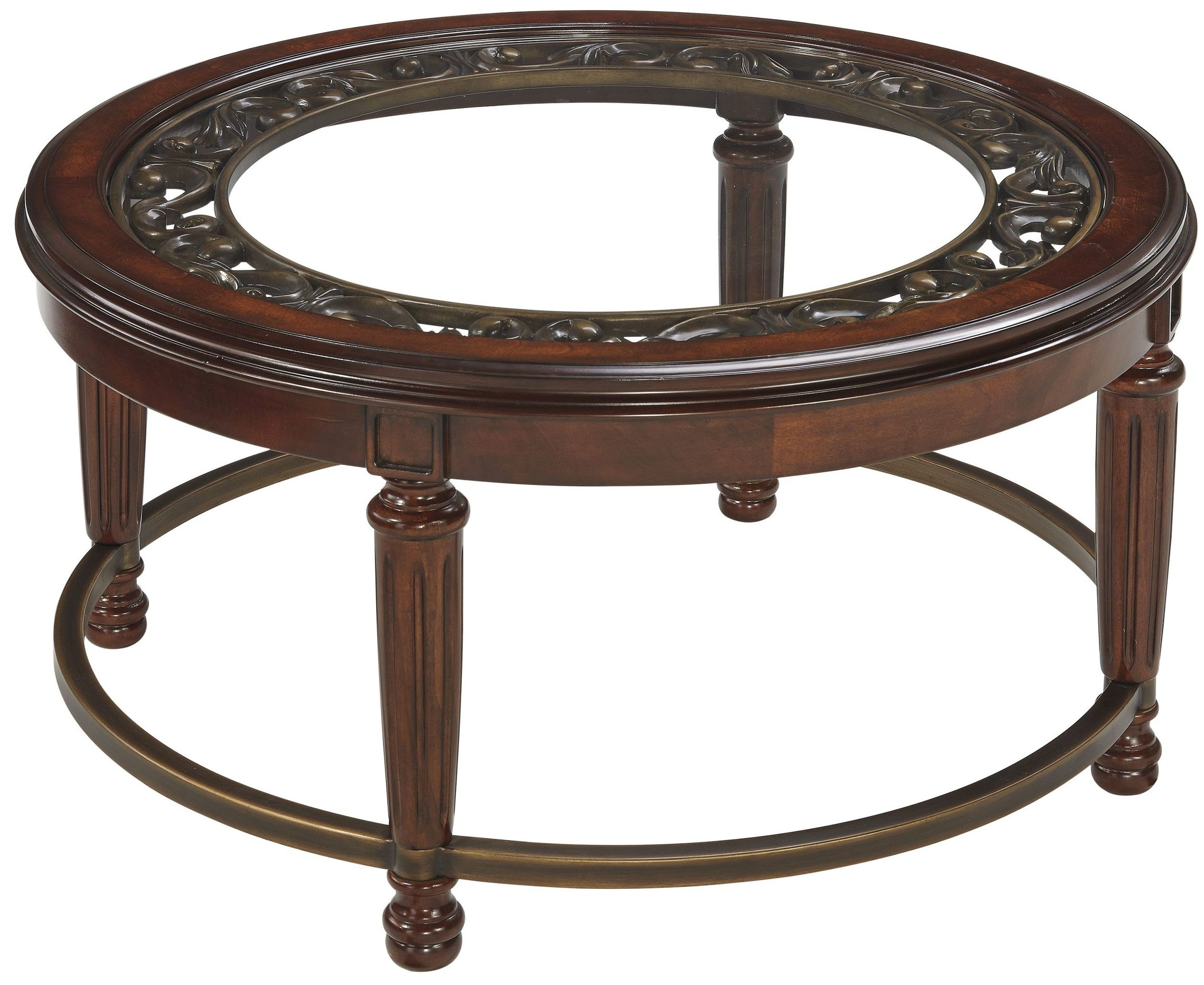 Leahlyn reddish brown round cocktail table from ashley Round cocktail table